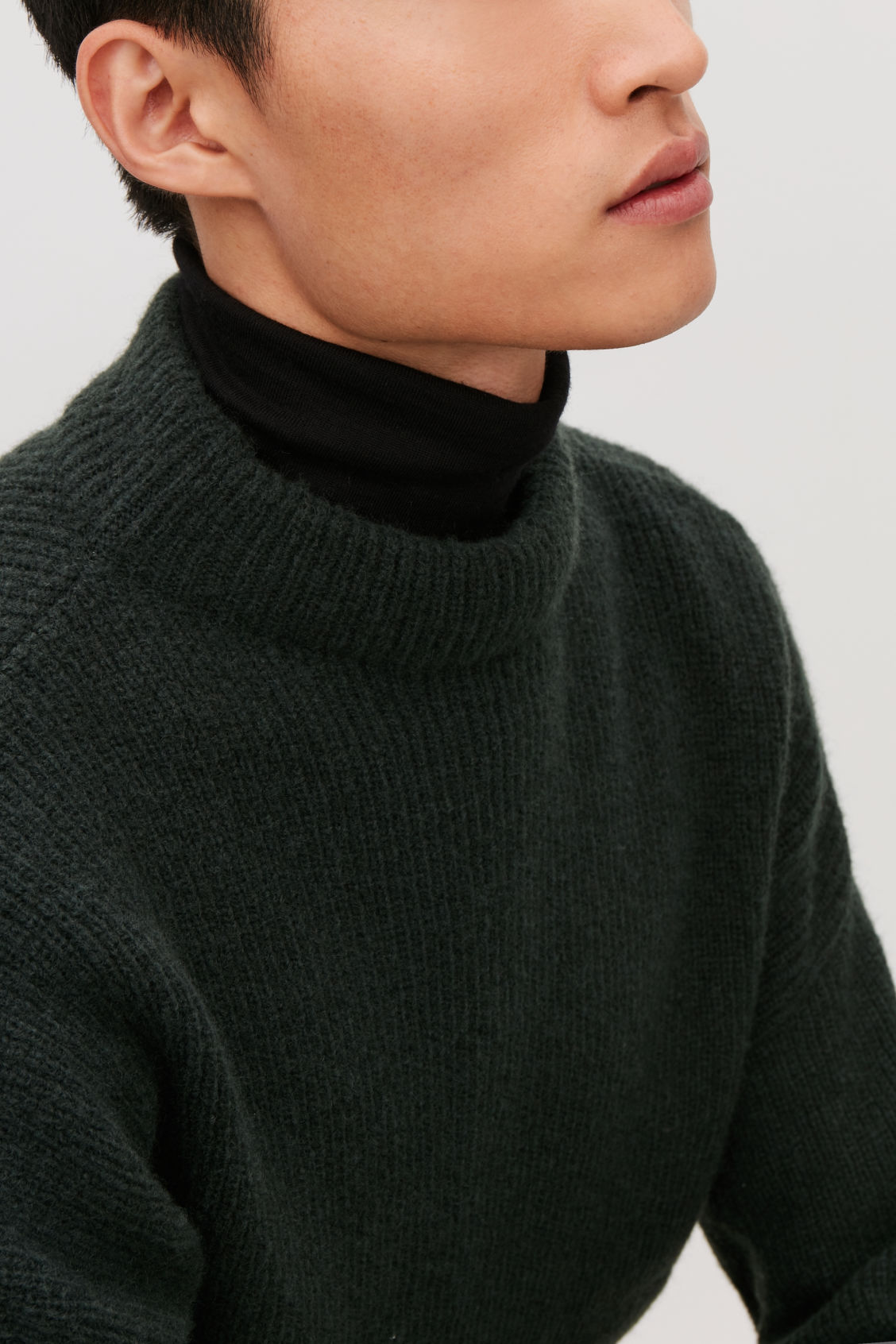 Model side image of Cos oversized knit jumper in green