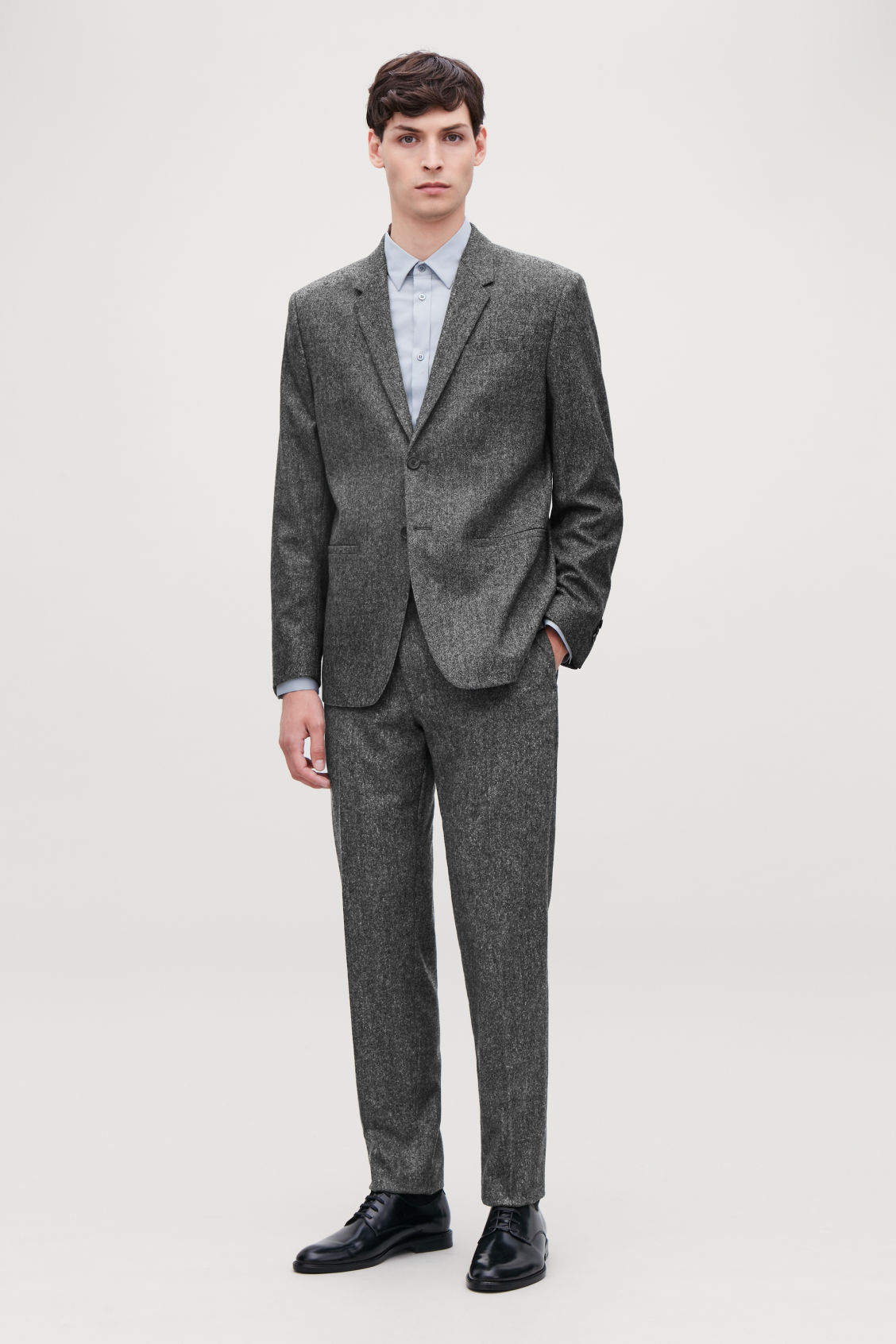 Model front image of Cos wool melange blazer in grey
