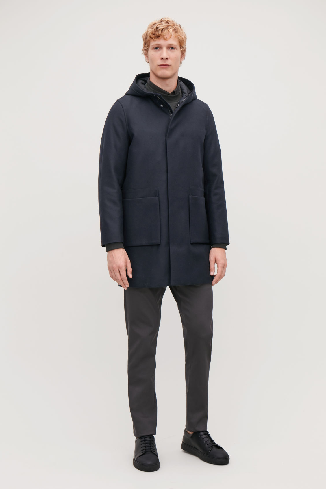 Model front image of Cos wool anorak in blue