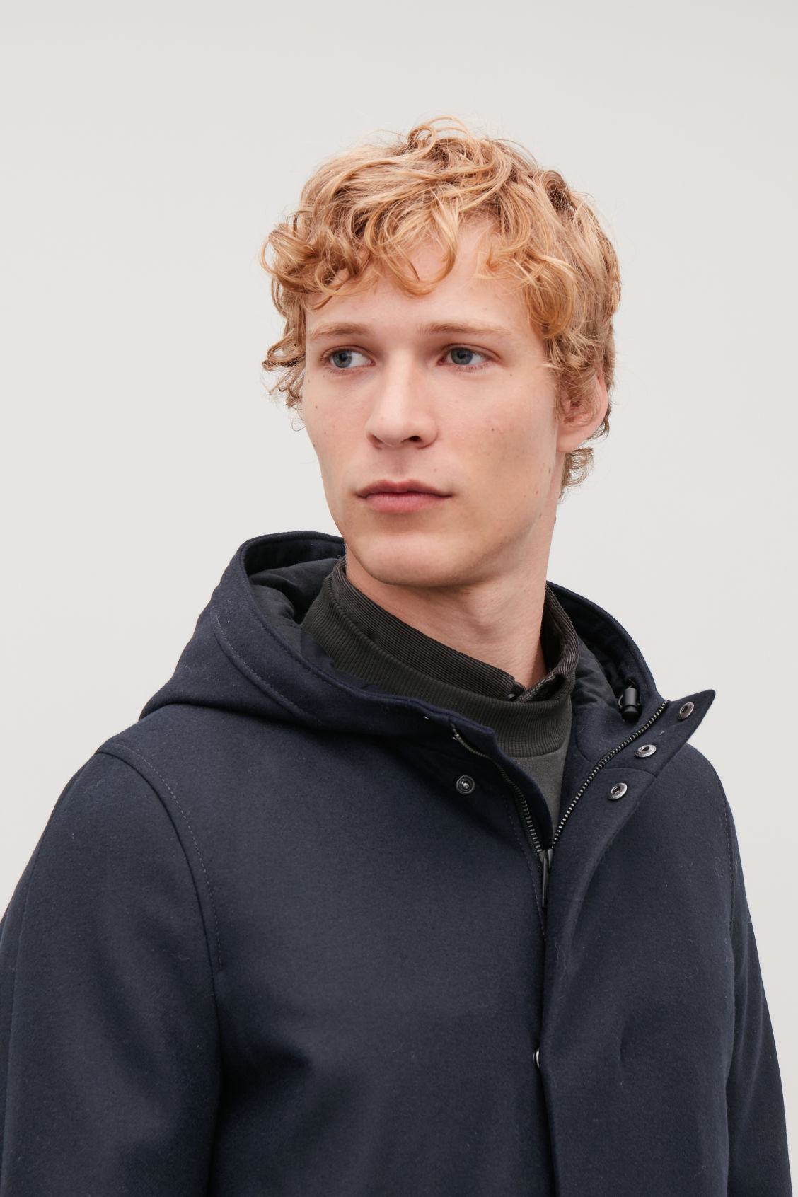 Model side image of Cos wool anorak in blue