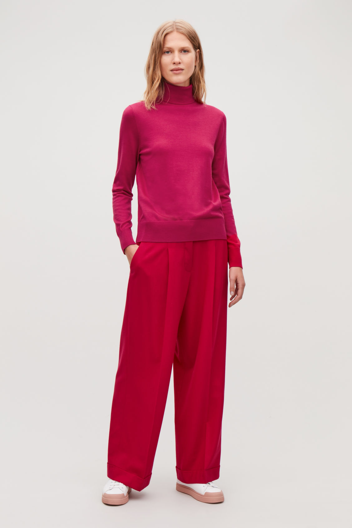 Model front image of Cos merino roll-neck jumper in pink