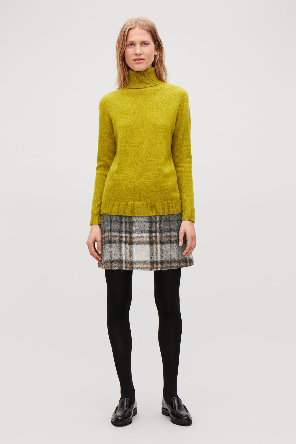 Model front image of Cos high-neck cashmere jumper in yellow
