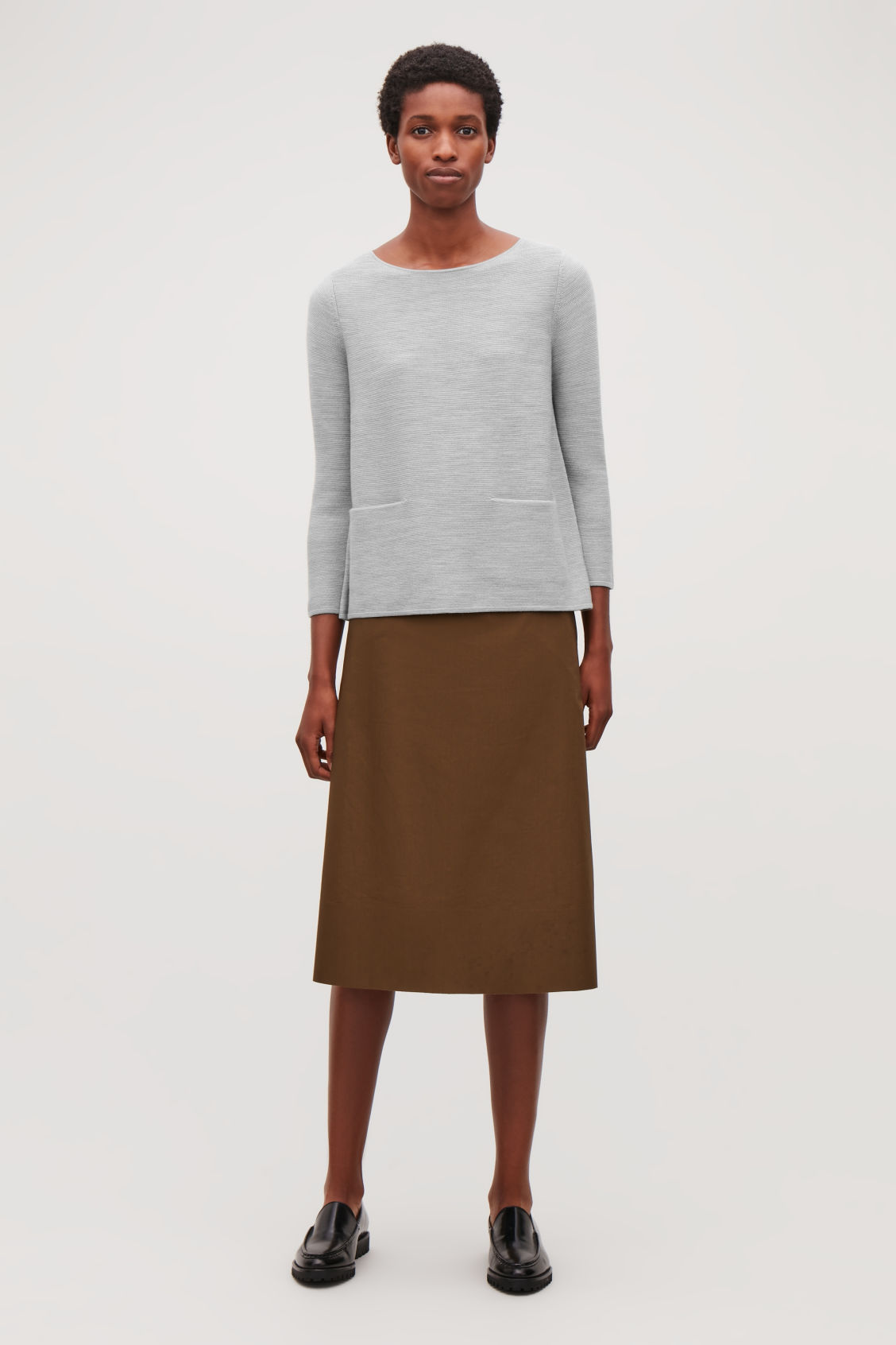 Model front image of Cos a-line knit jumper in grey