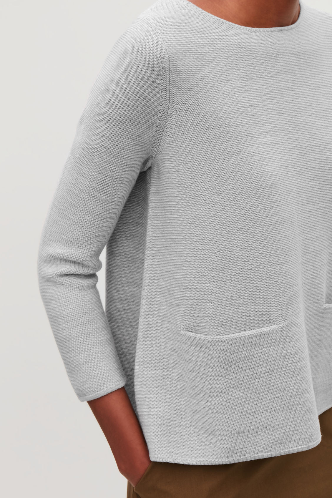 Model side image of Cos a-line knit jumper in grey