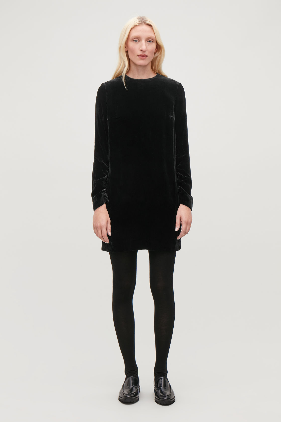 Model front image of Cos velvet dress in black