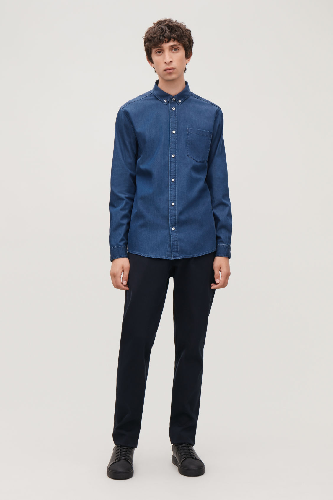 Model front image of Cos denim shirt in turquoise