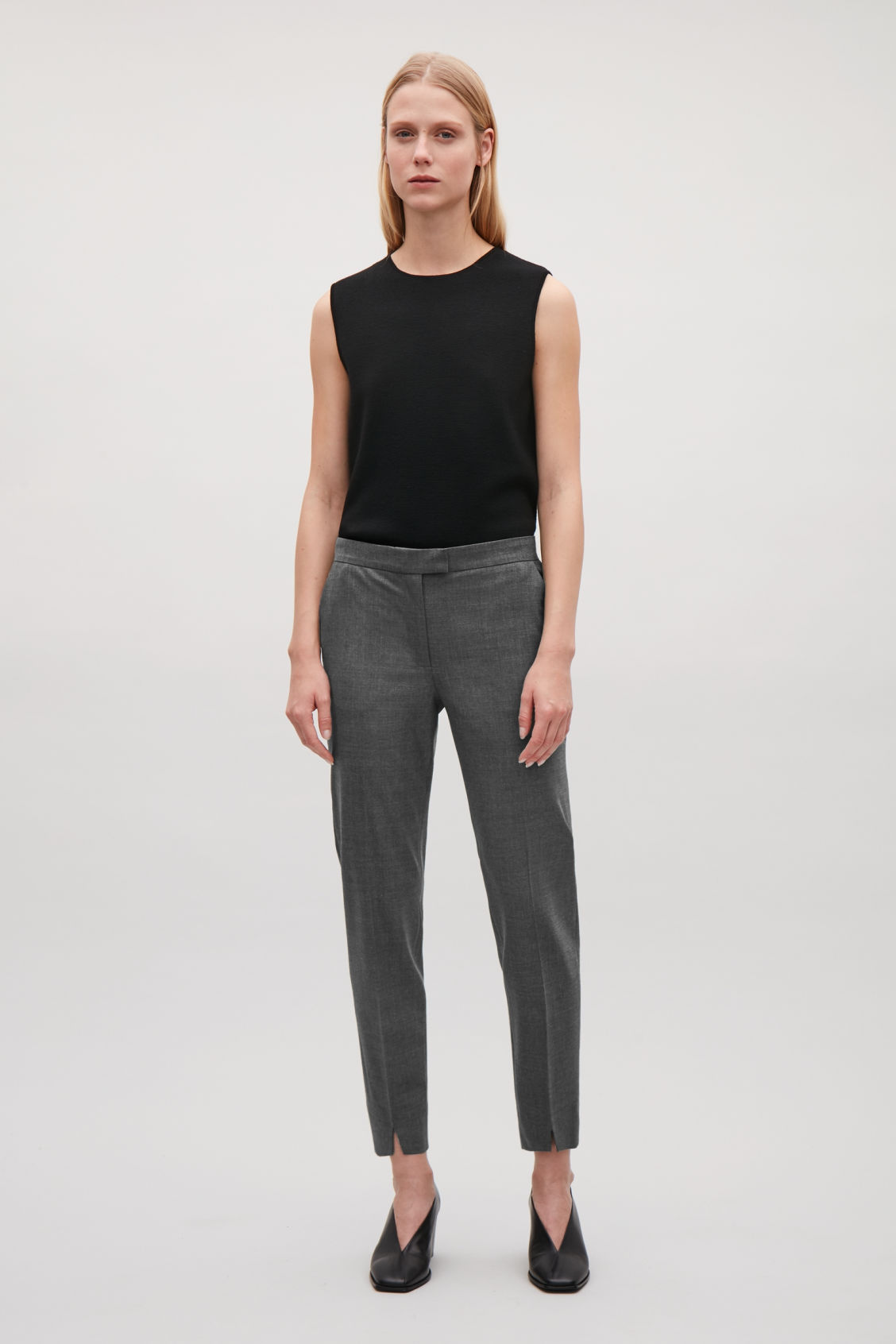 Model front image of Cos tailored slim-fit trousers in grey