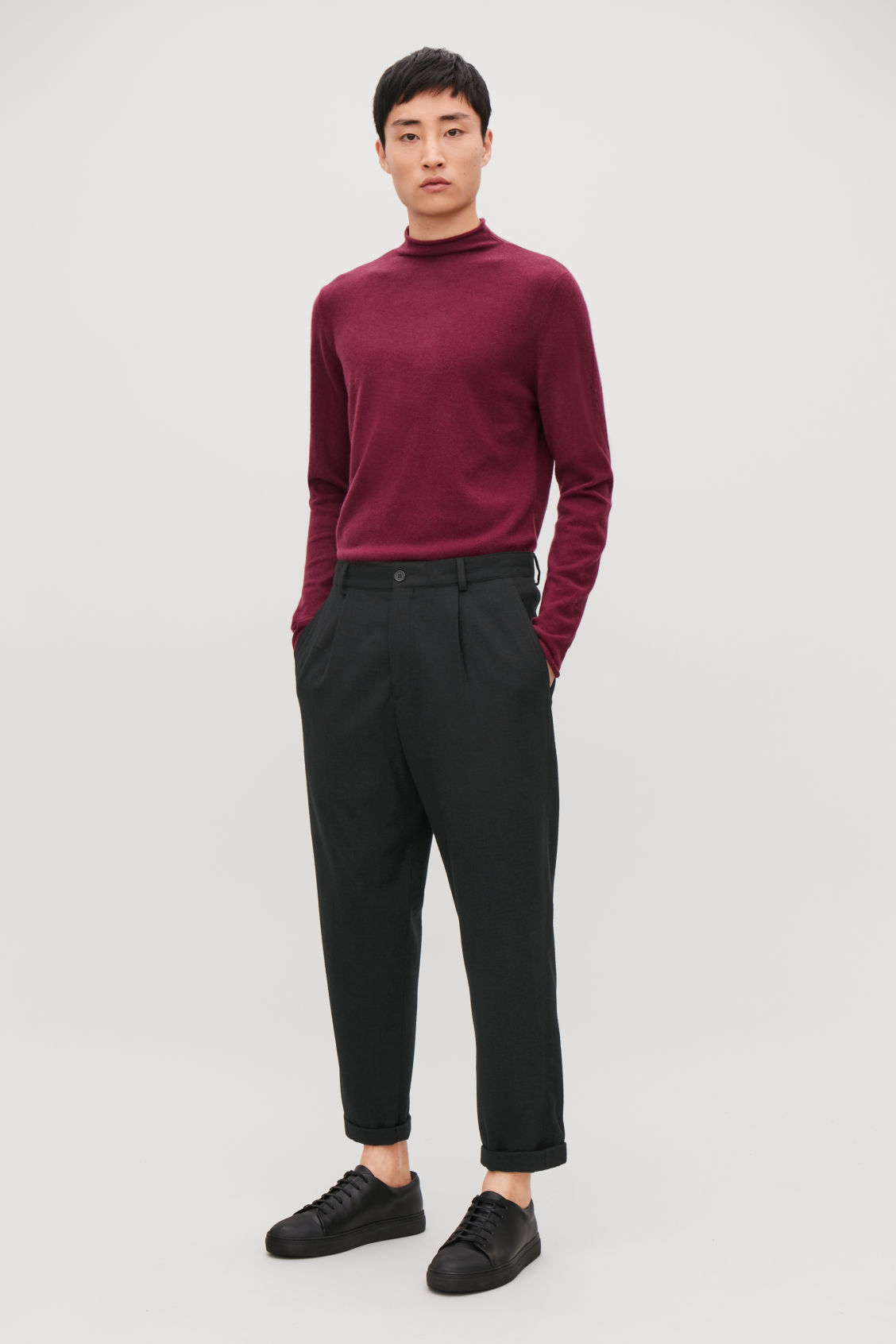 Model front image of Cos relaxed crepe wool trousers in black
