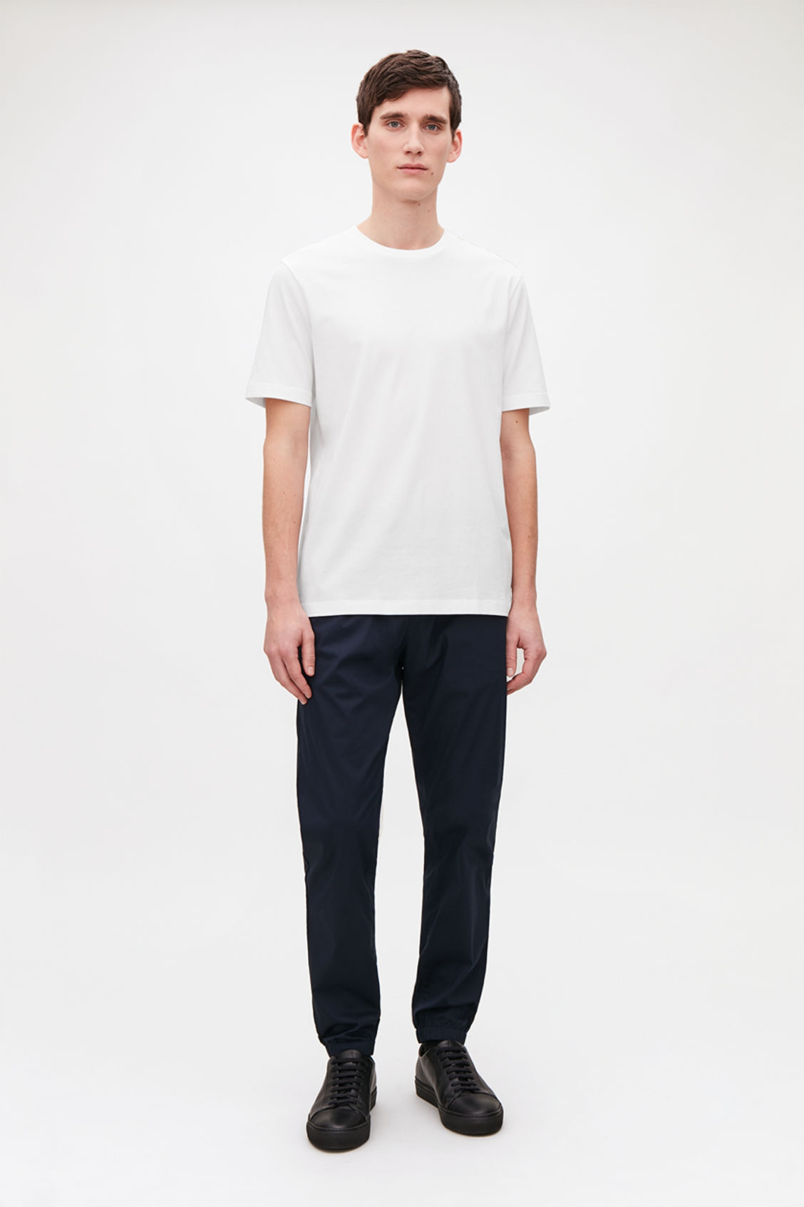 Model front image of Cos t-shirt with rib neck in white