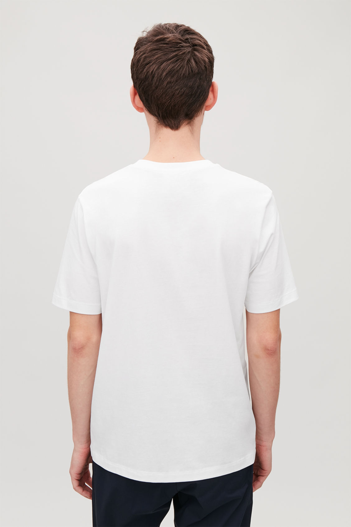 Model side image of Cos t-shirt with rib neck in white