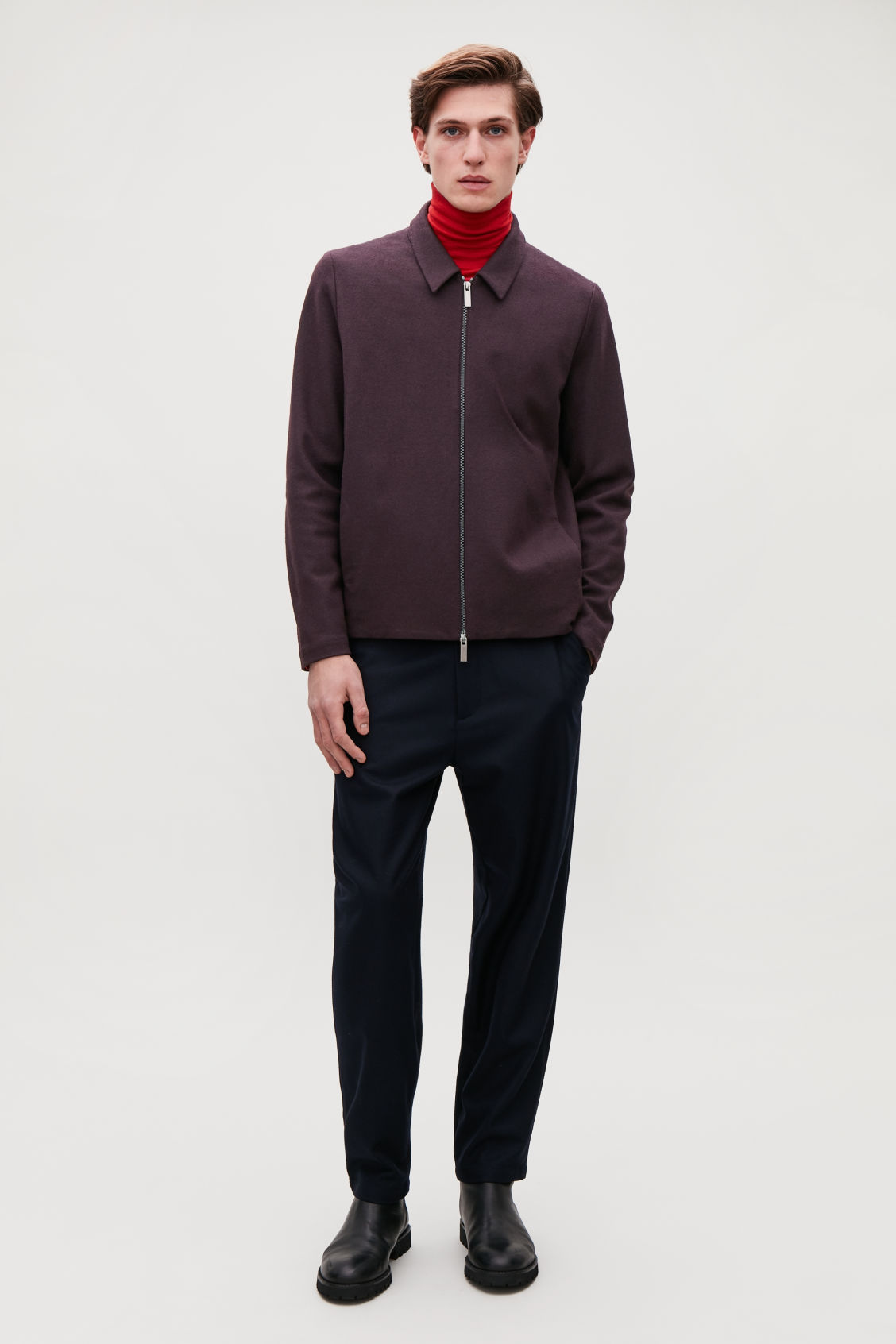 Model front image of Cos zip-up wool jacket in burgundy