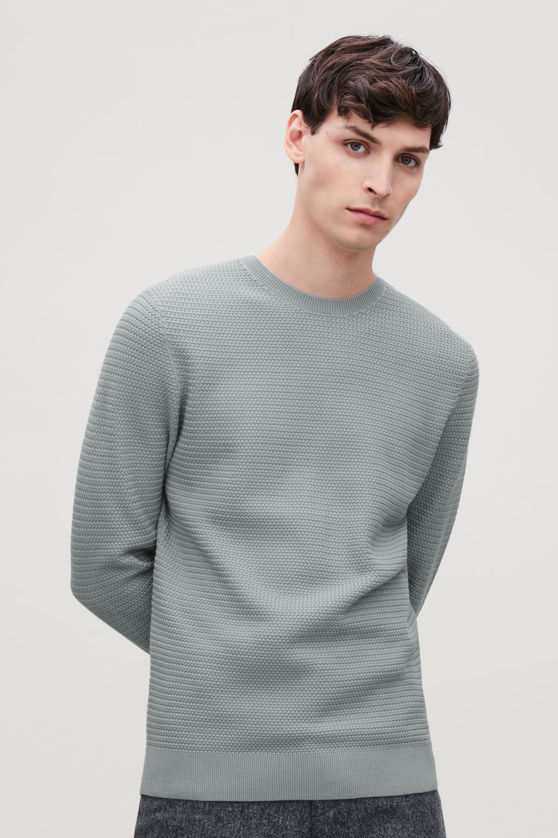 Model side image of Cos structured knit jumper in grey