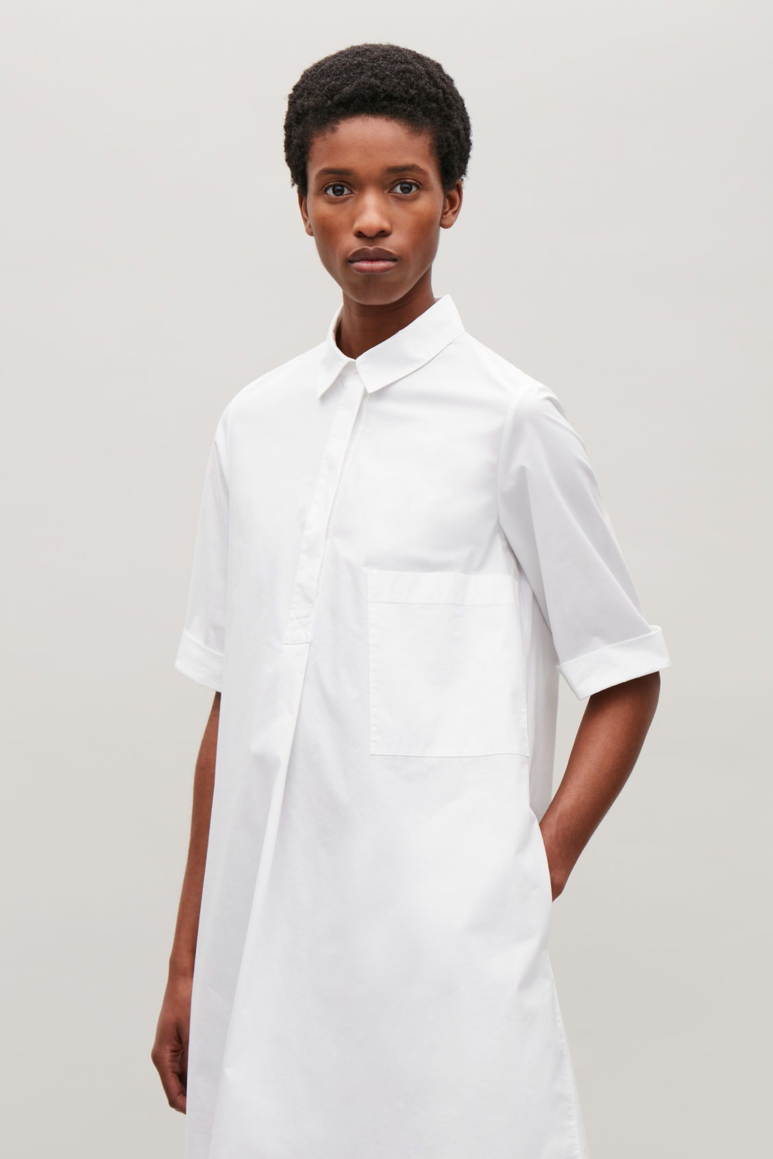 A Line Poplin Shirt Dress White Dresses Cos