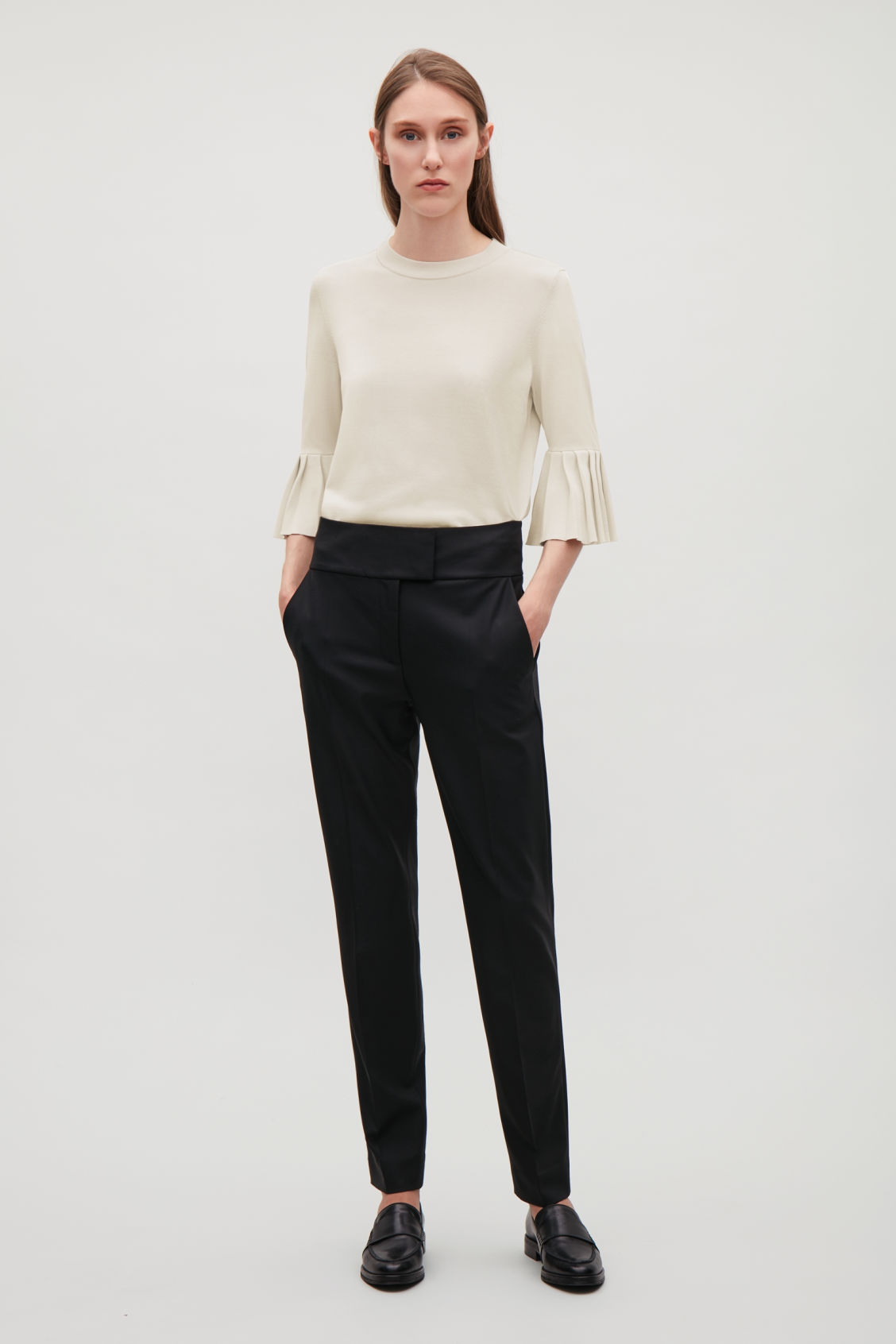 Model front image of Cos knitted top with pleated sleeves in beige