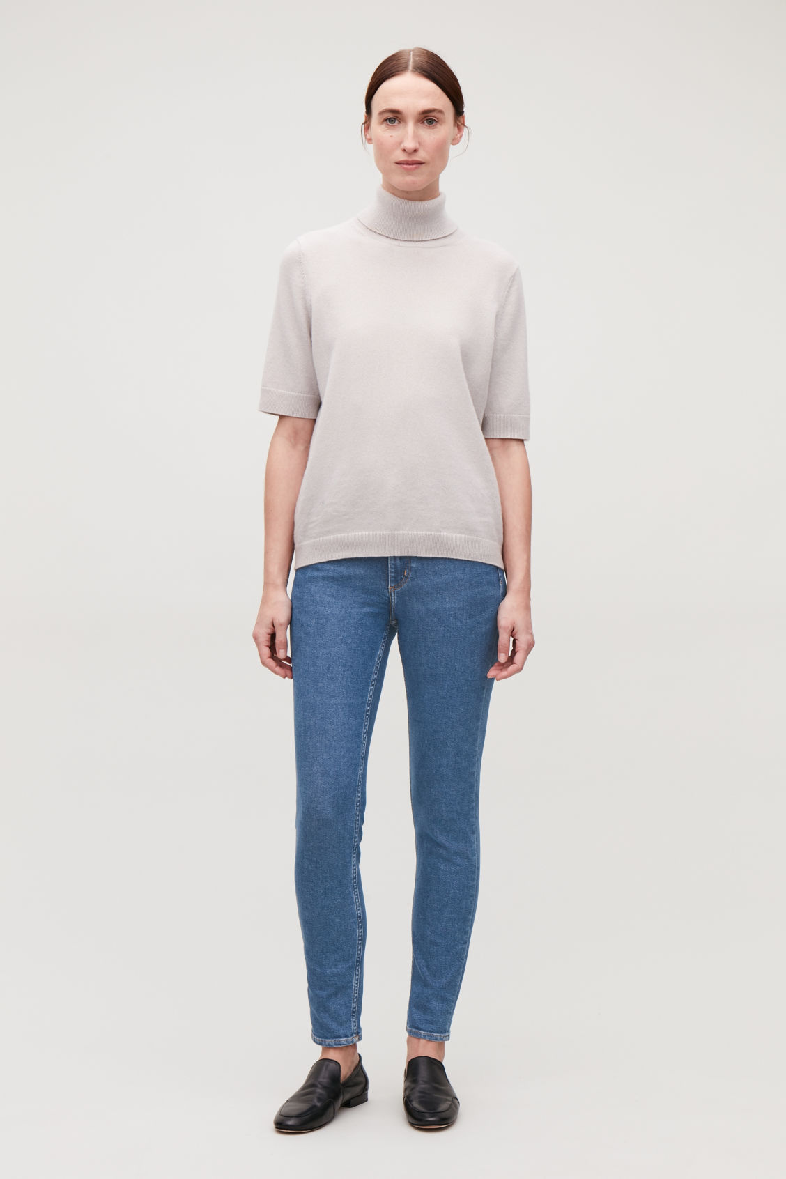 Model front image of Cos cropped skinny-fit jeans in blue