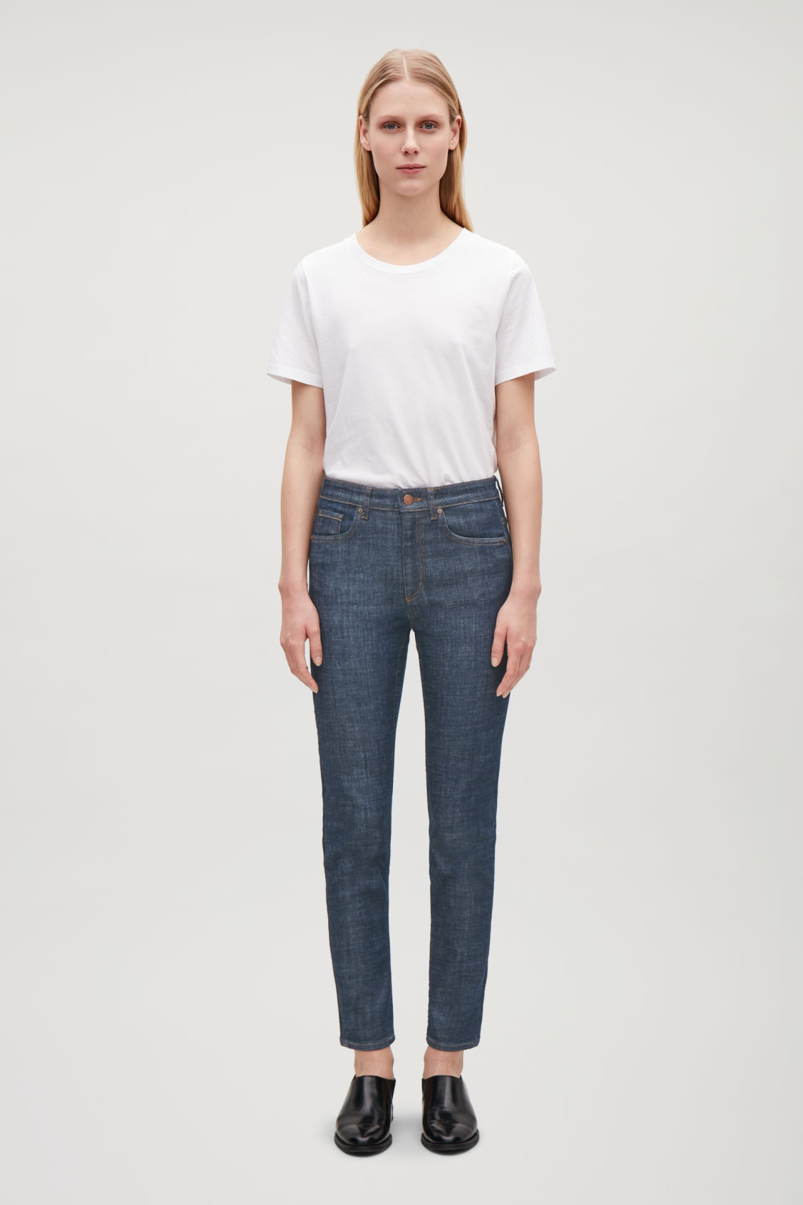 Model front image of Cos skinny-fit cropped jeans in blue
