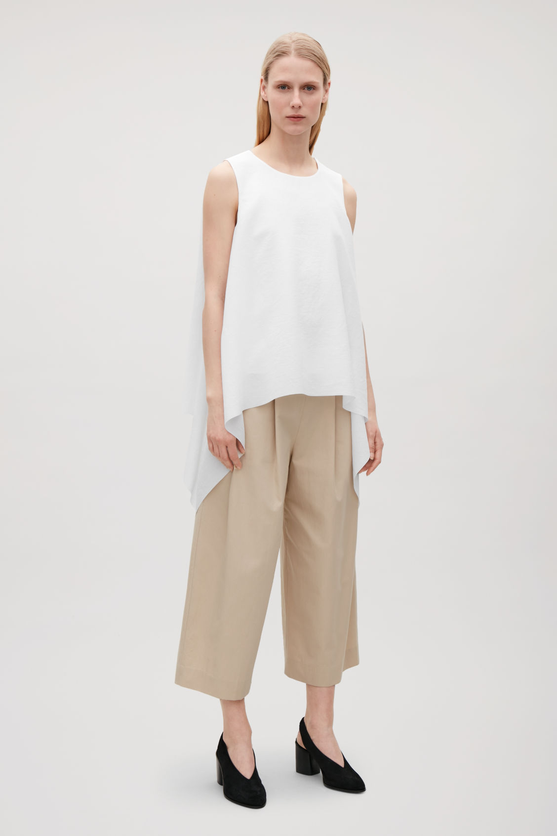 Model front image of Cos layered drape top in white
