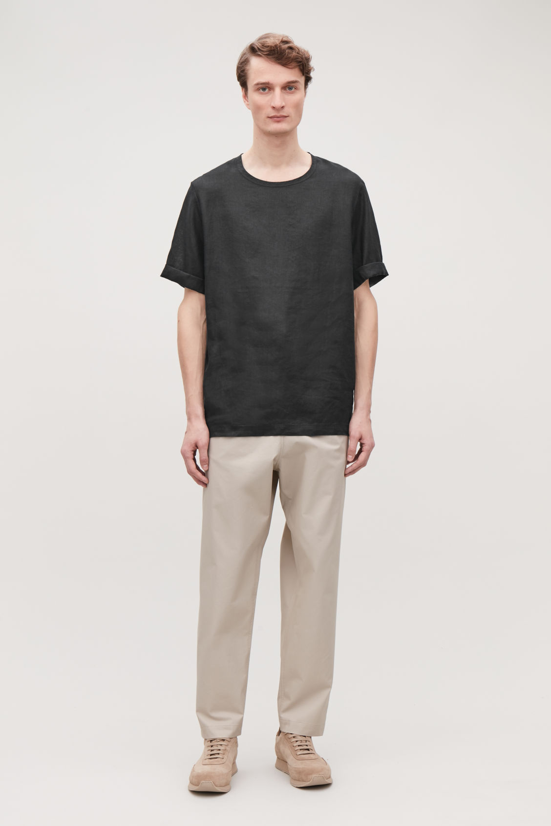 Model front image of Cos oversized linen t-shirt in black
