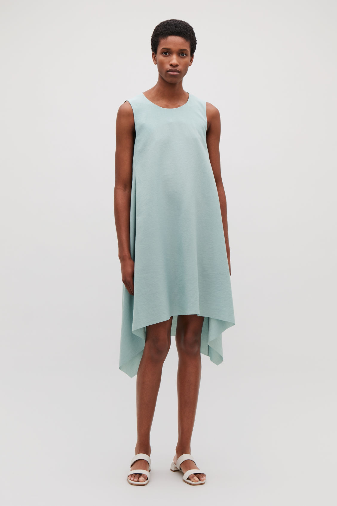 Model front image of Cos layered drape dress in green