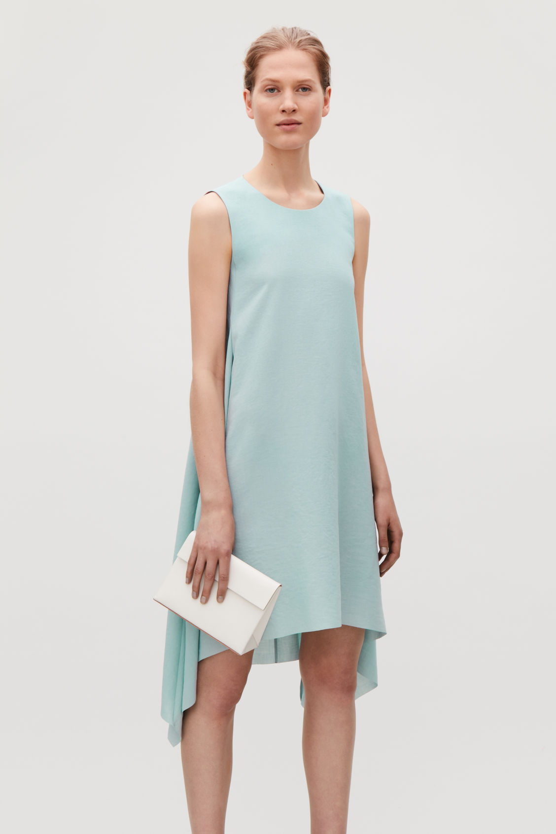 Model side image of Cos layered drape dress in green