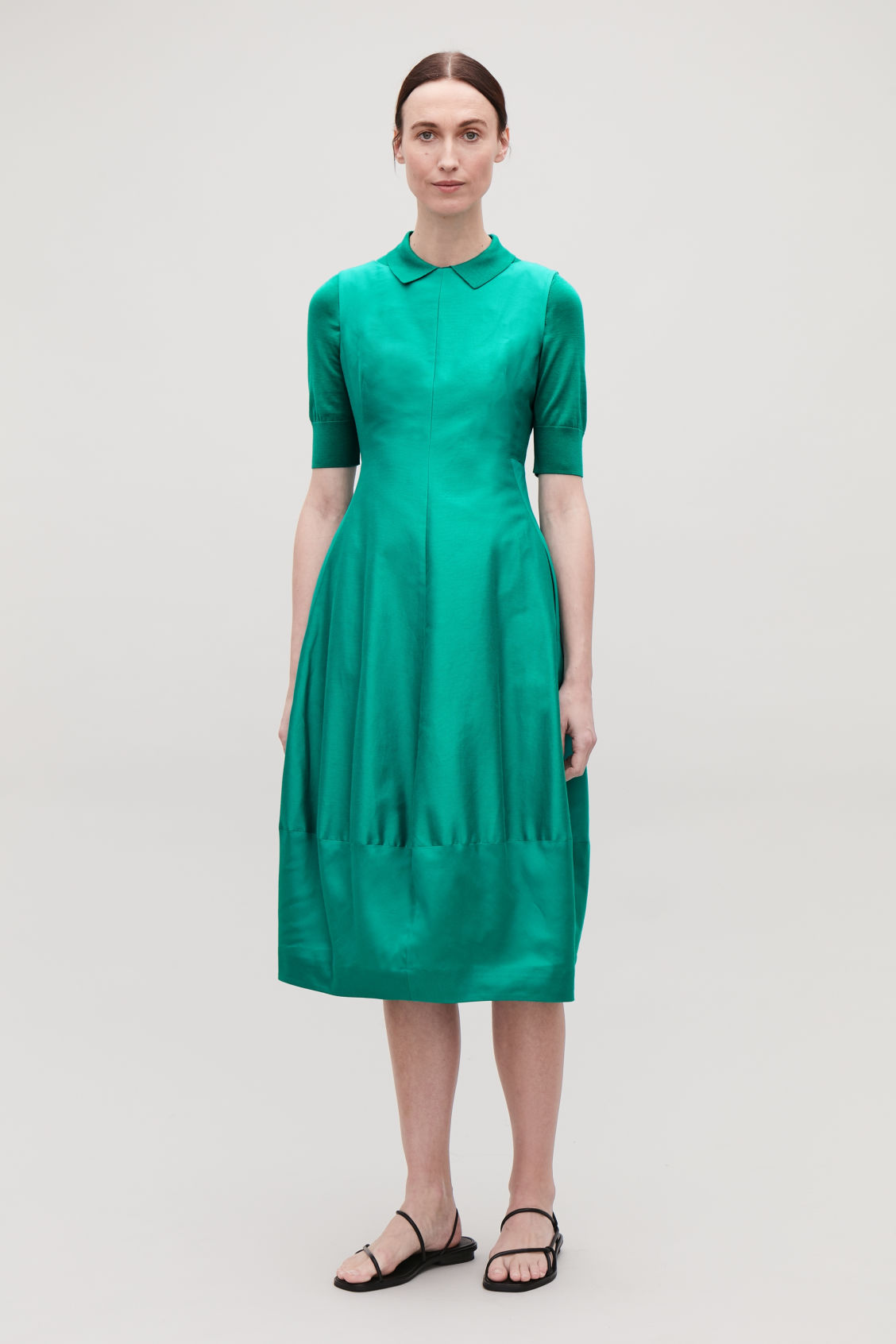 Model side image of Cos cotton-silk cocoon dress in green
