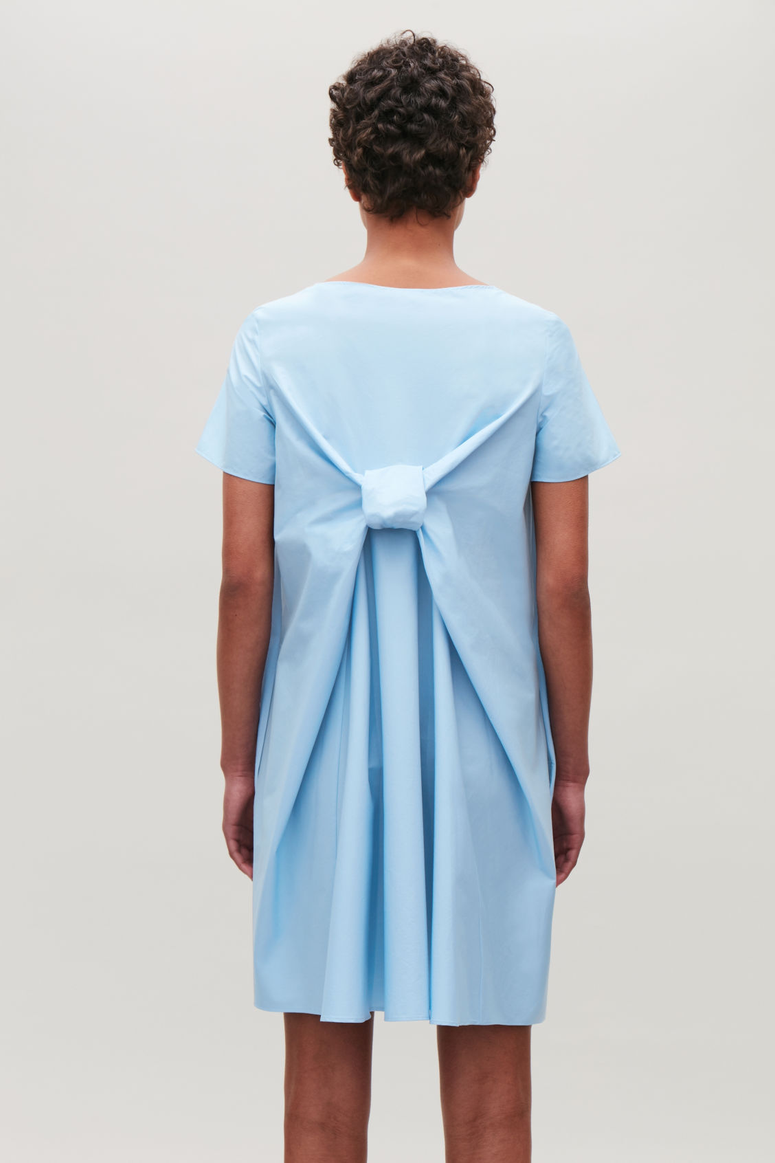Dress With Draped Back Light Blue Dresses Cos