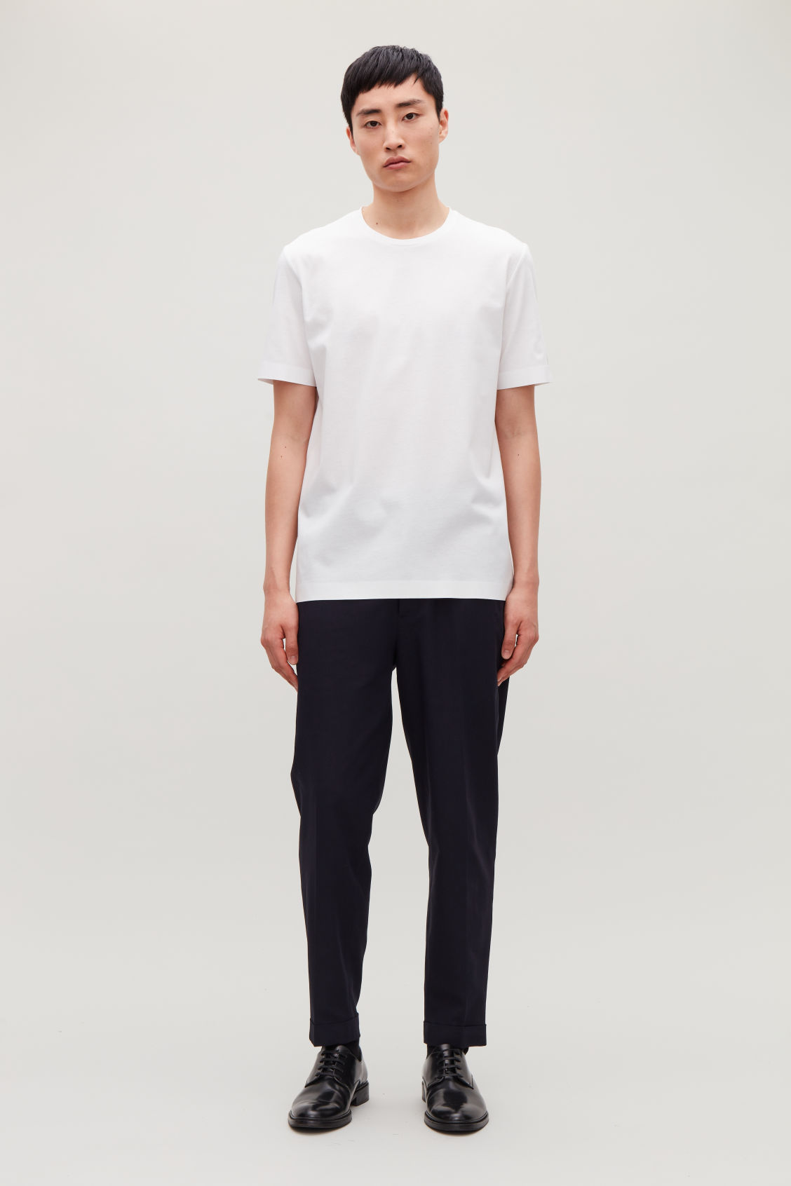 Model front image of Cos bonded cotton t-shirt in white