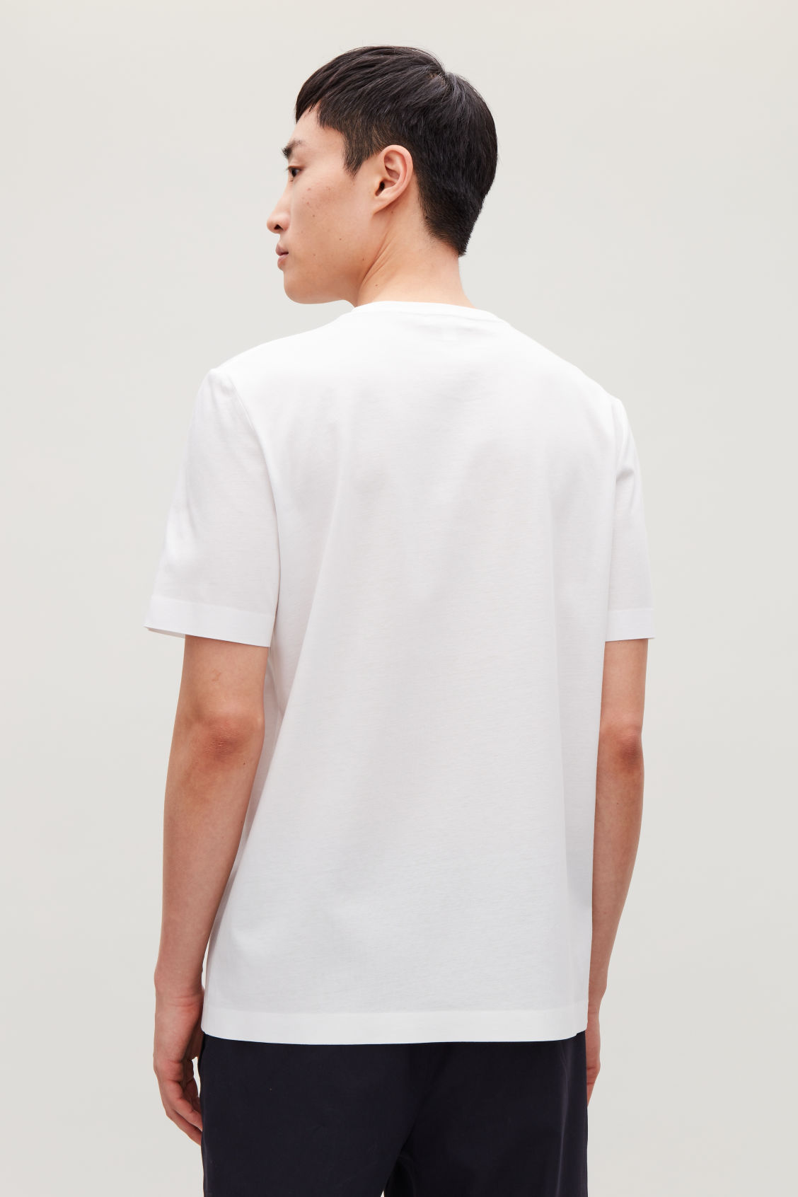 Model side image of Cos bonded cotton t-shirt in white