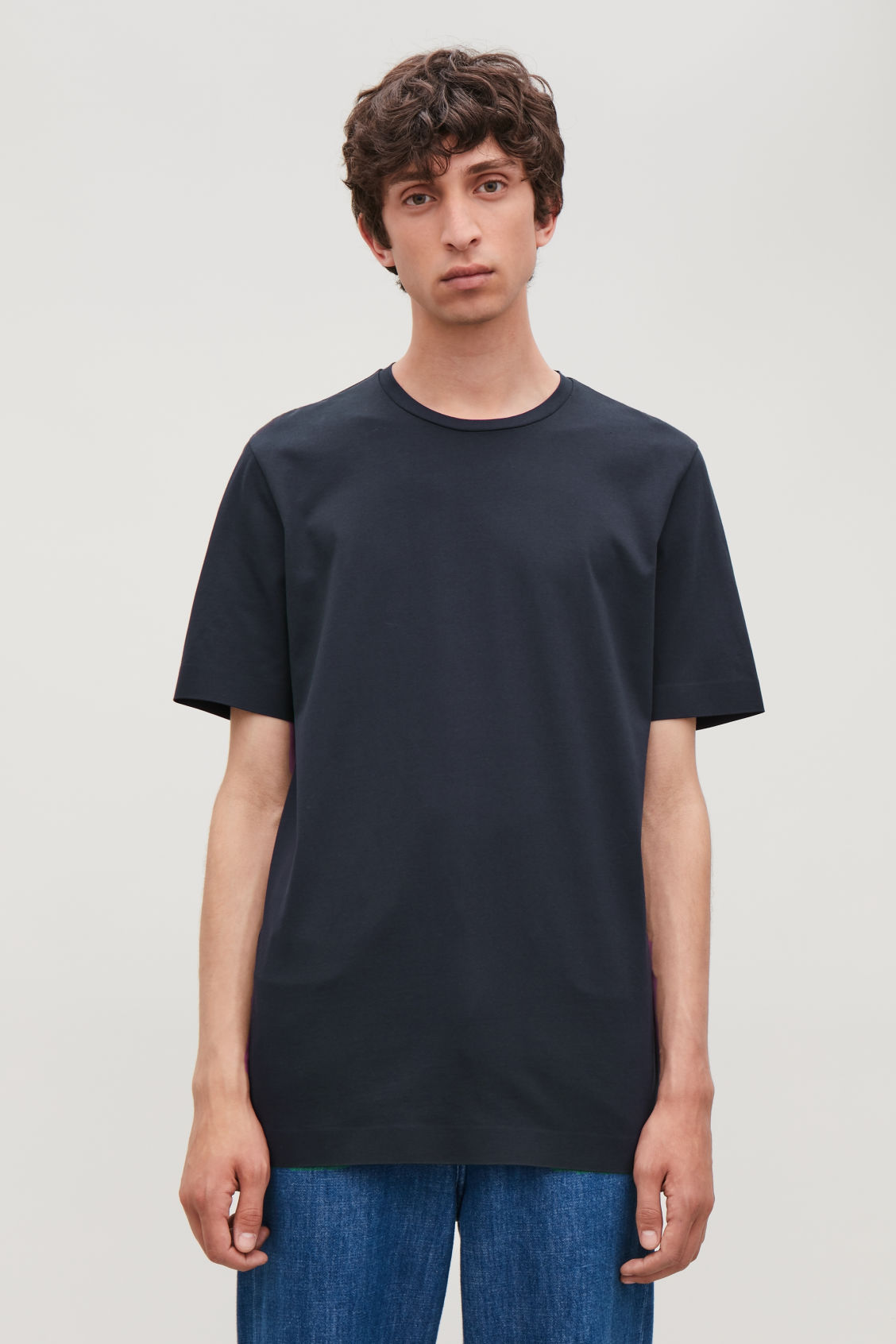Model side image of Cos bonded cotton t-shirt in blue