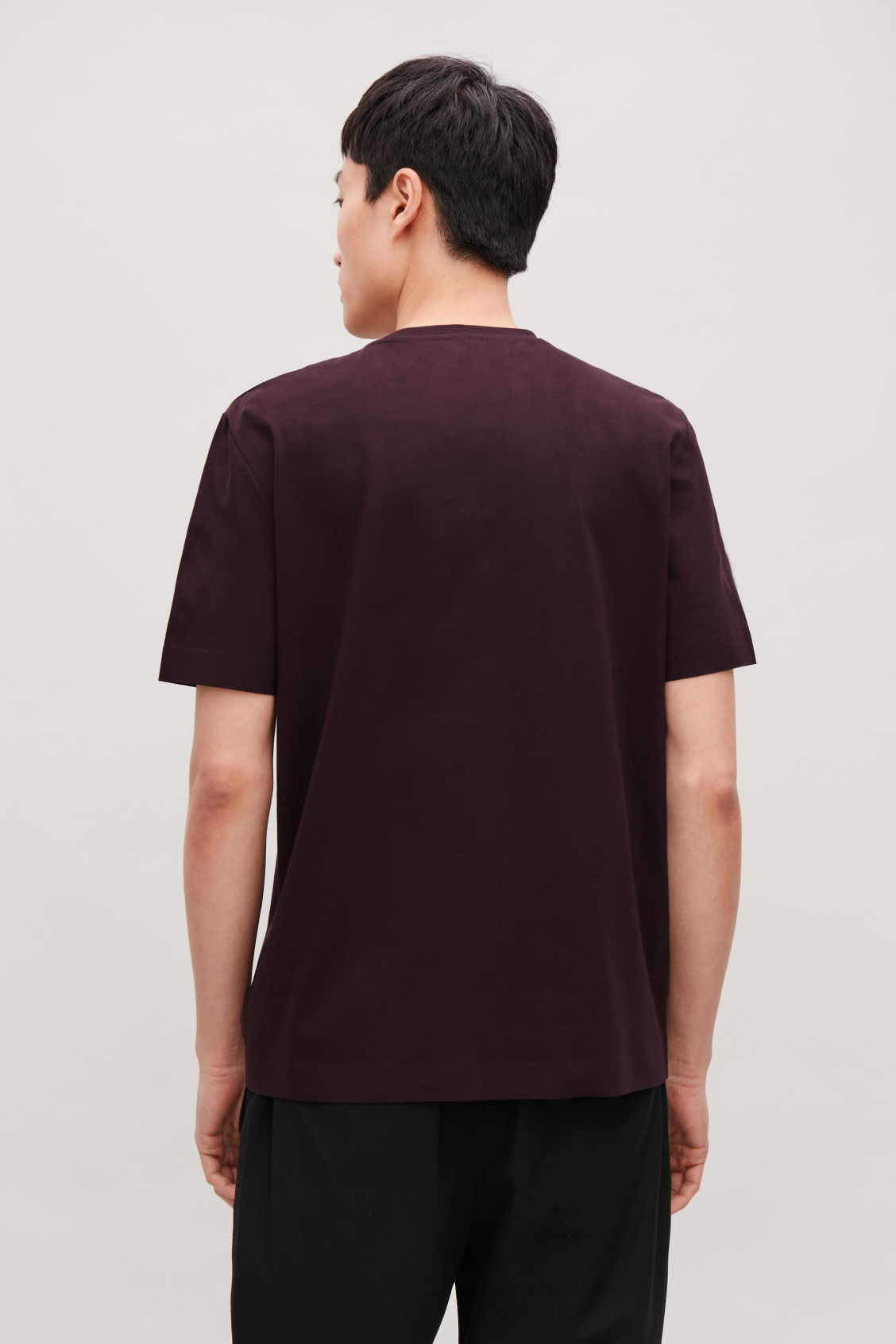 Model side image of Cos bonded cotton t-shirt in red