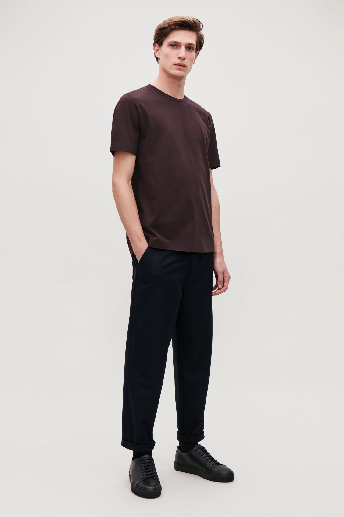Model side image of Cos bonded cotton t-shirt in burgundy