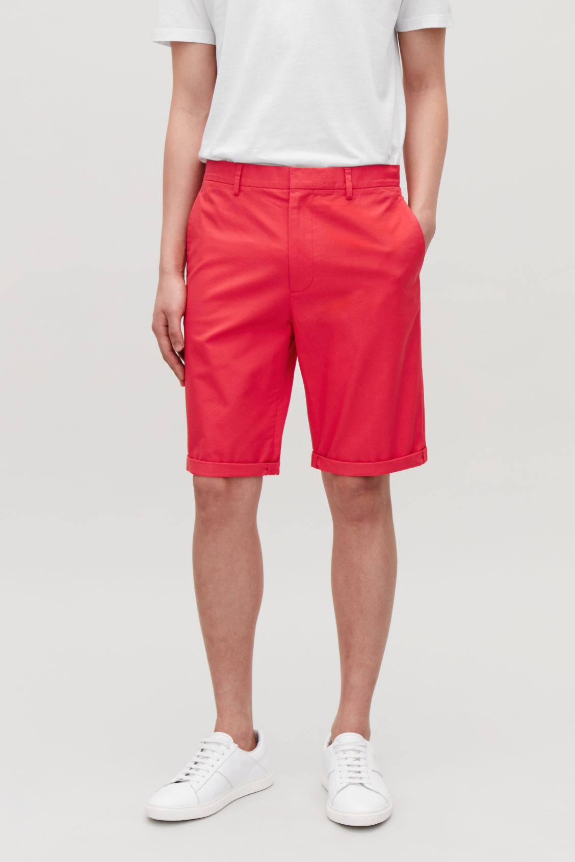 Model side image of Cos cotton-twill shorts in red