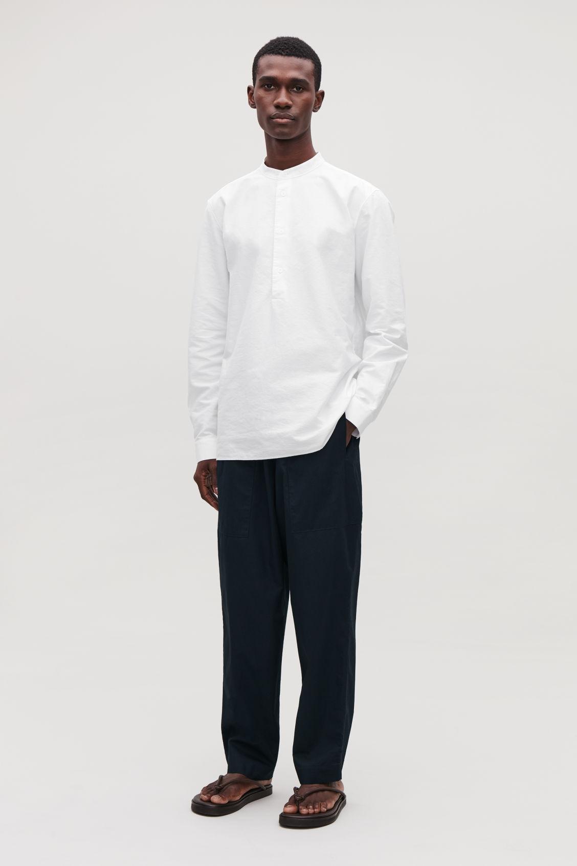Grandad Collar Tunic Shirt White Casual Shirts Cos