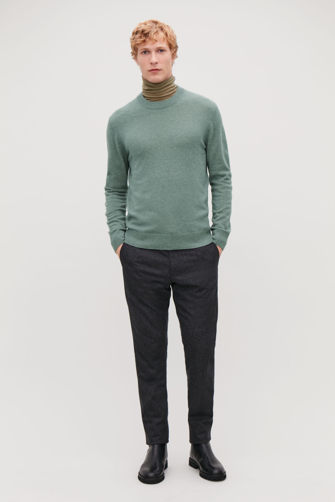 Model front image of Cos wool-yak crew-neck jumper in green