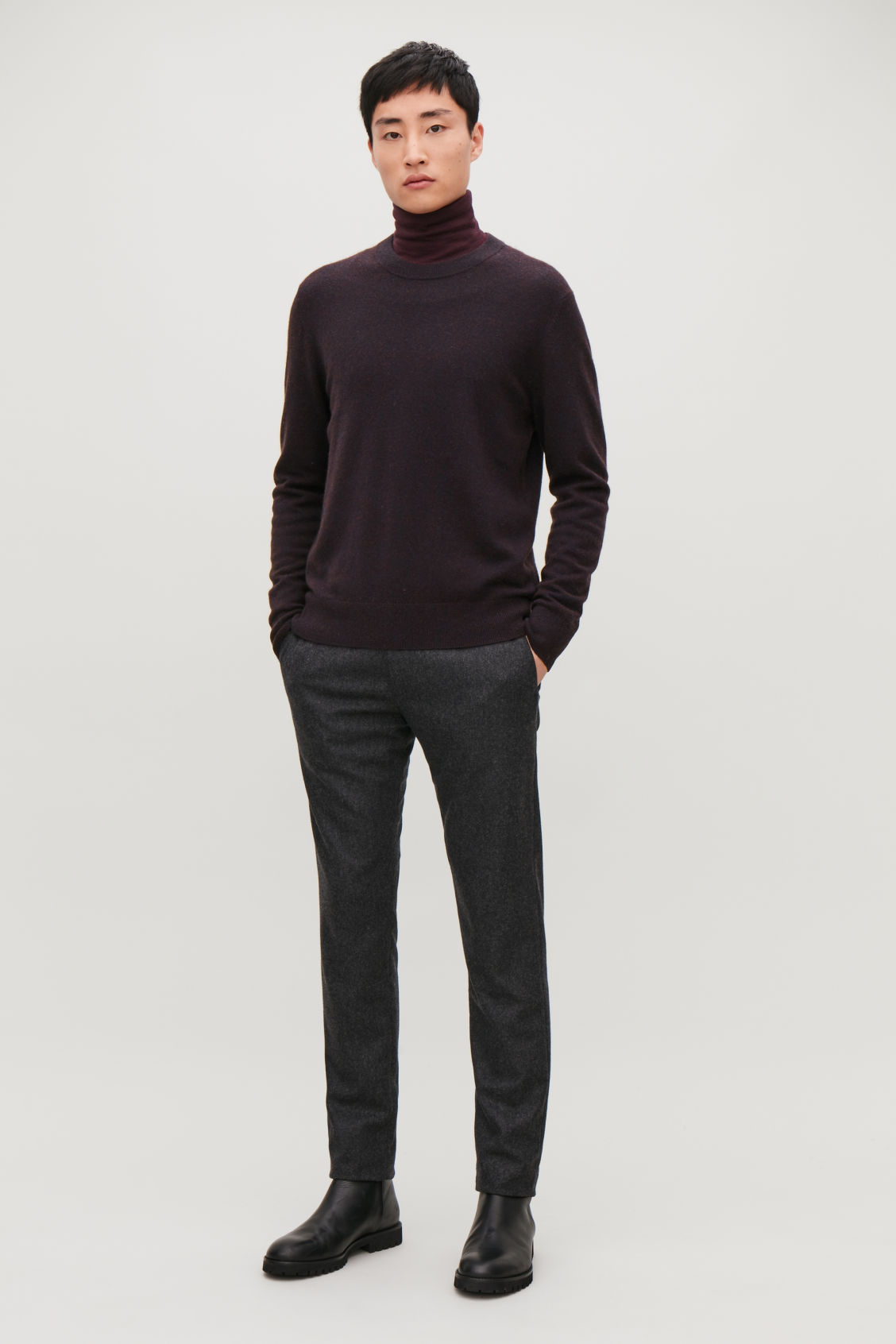 Model front image of Cos wool-yak crew-neck jumper in brown