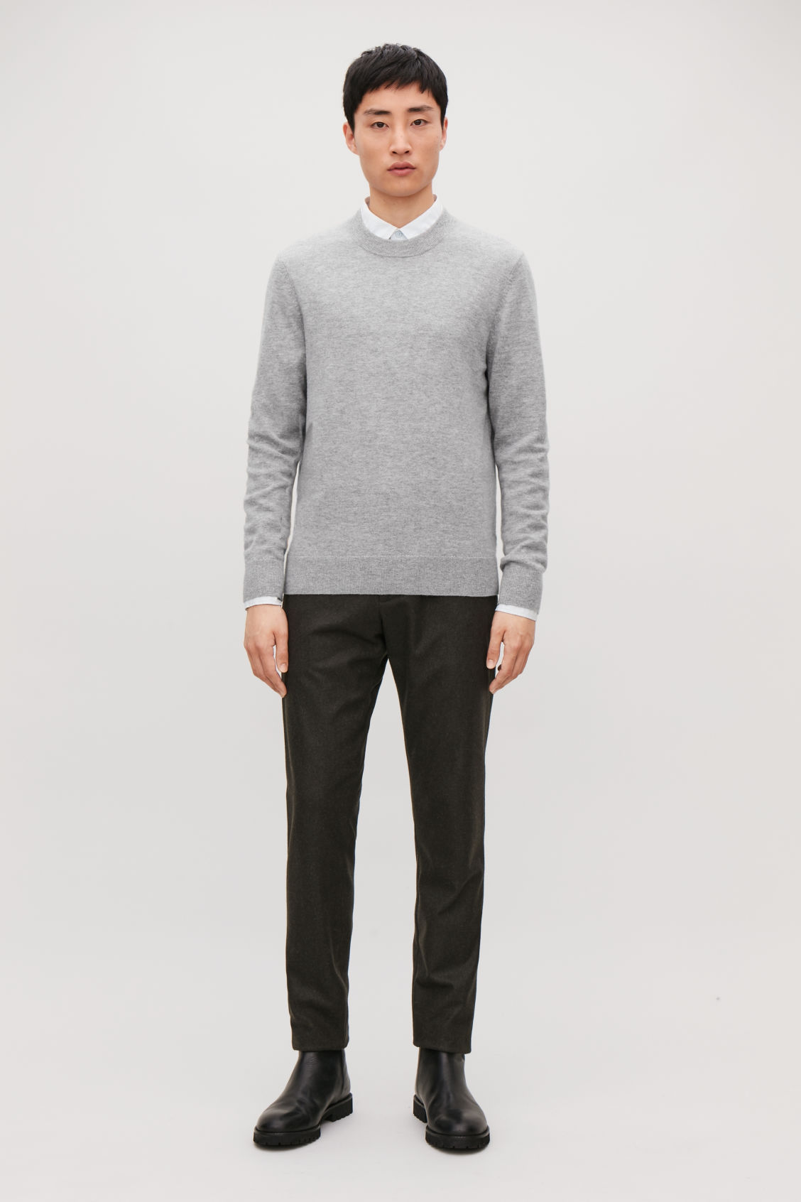 Model front image of Cos wool-yak crew-neck jumper in grey