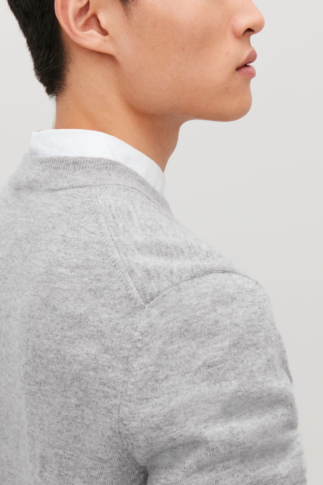 Model side image of Cos wool-yak crew-neck jumper in grey