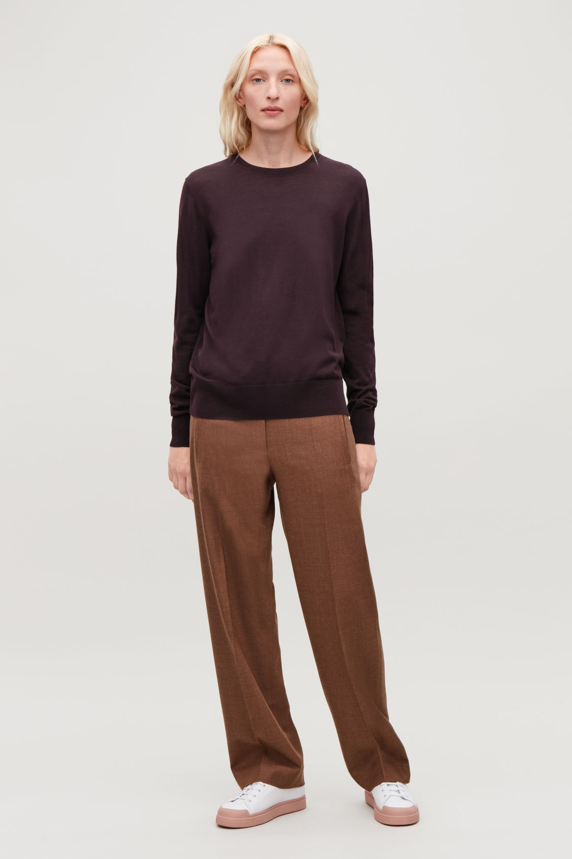 Model front image of Cos round-neck merino jumper in purple