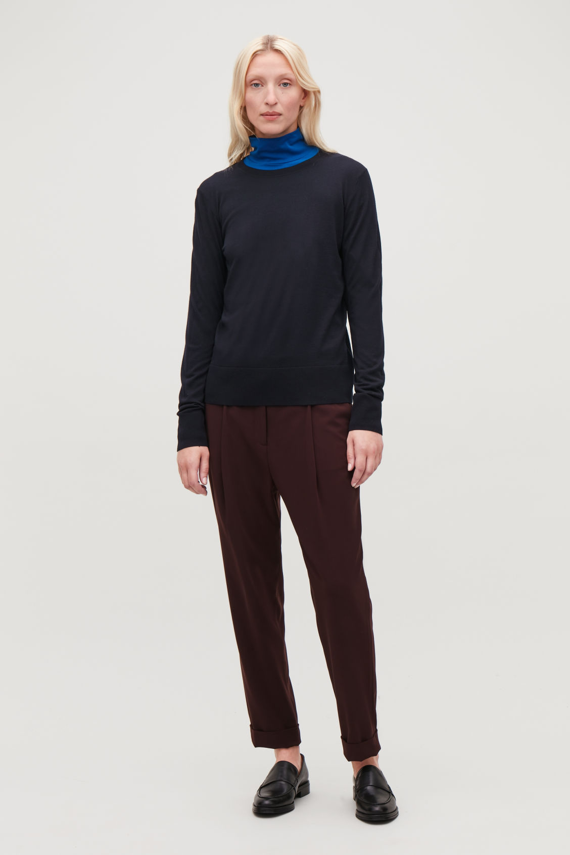 Model front image of Cos round-neck merino jumper in blue