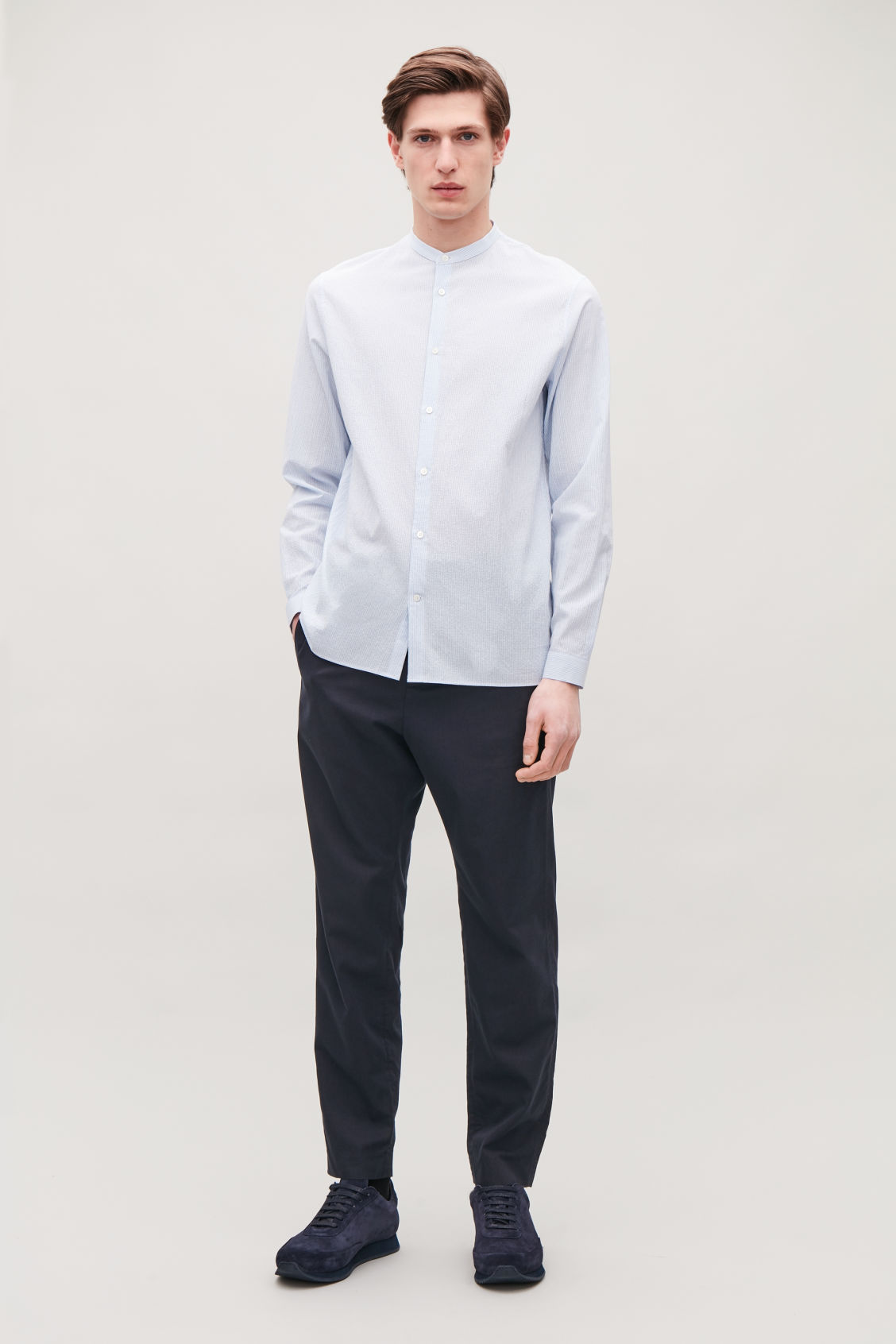 Model front image of Cos tailored trousers with elastic waist in blue