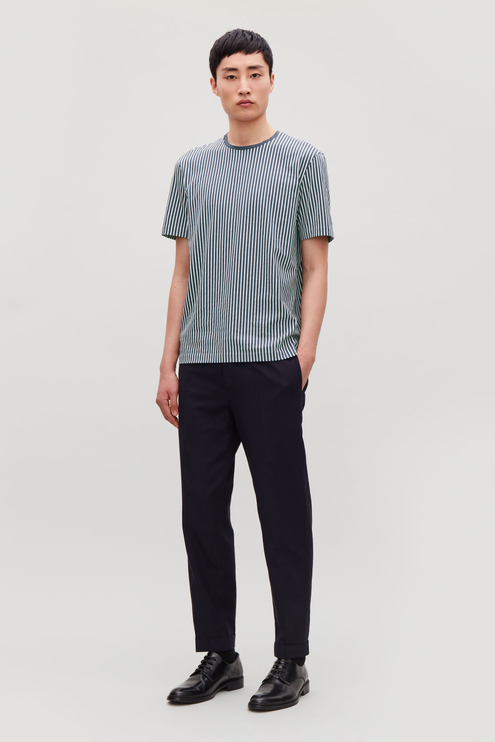 FINE-STRIPED COTTON T-SHIRT