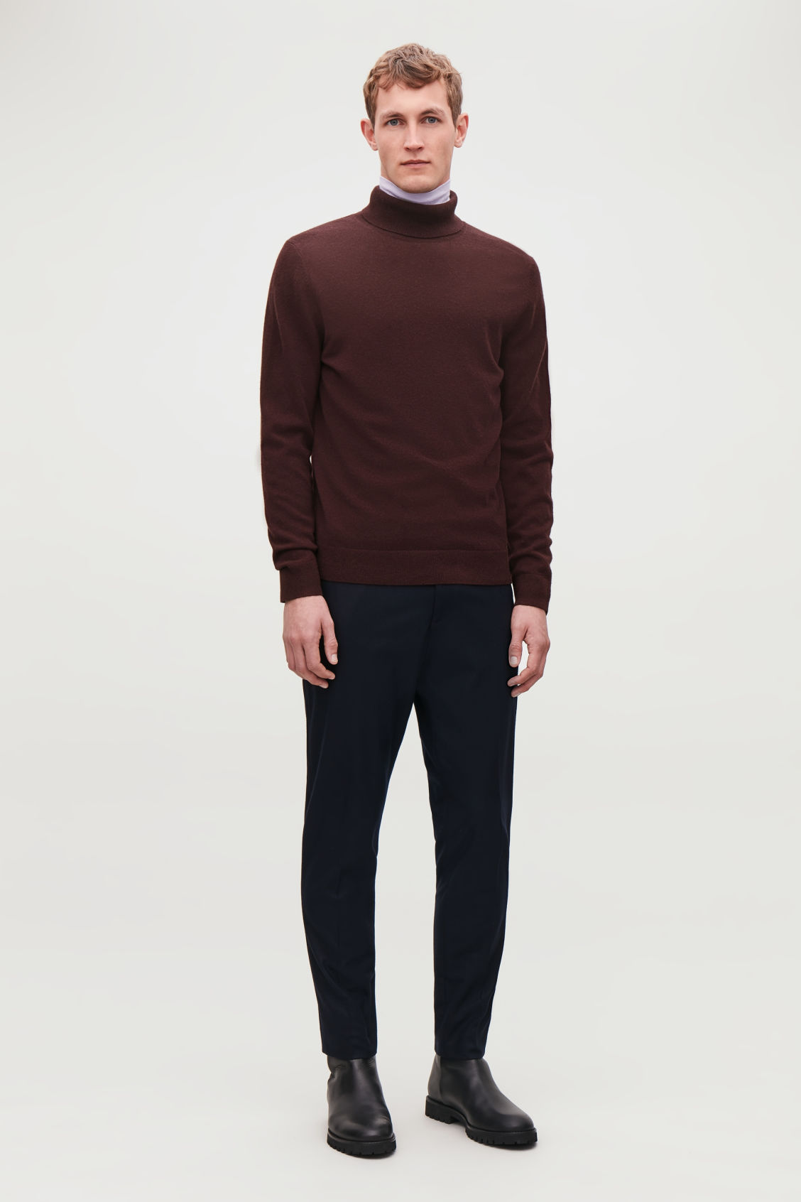Model front image of Cos wool and yak roll-neck jumper  in red