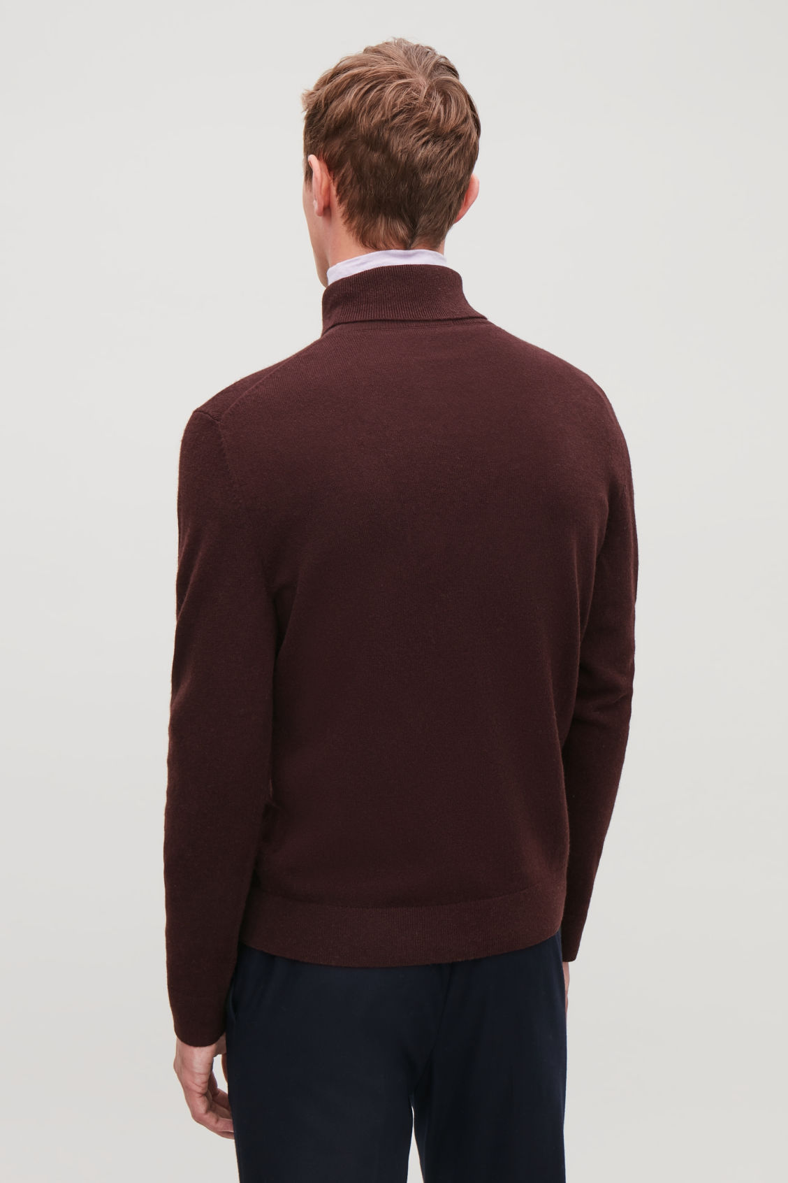 Model side image of Cos wool and yak roll-neck jumper  in red