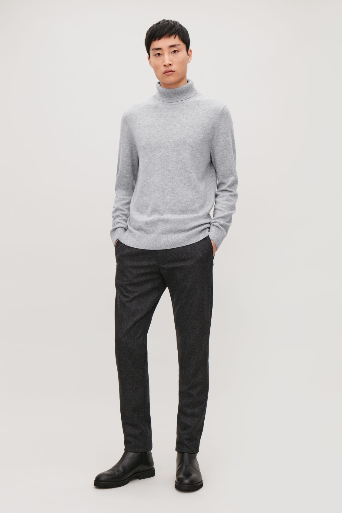 Model front image of Cos wool and yak roll-neck jumper  in grey