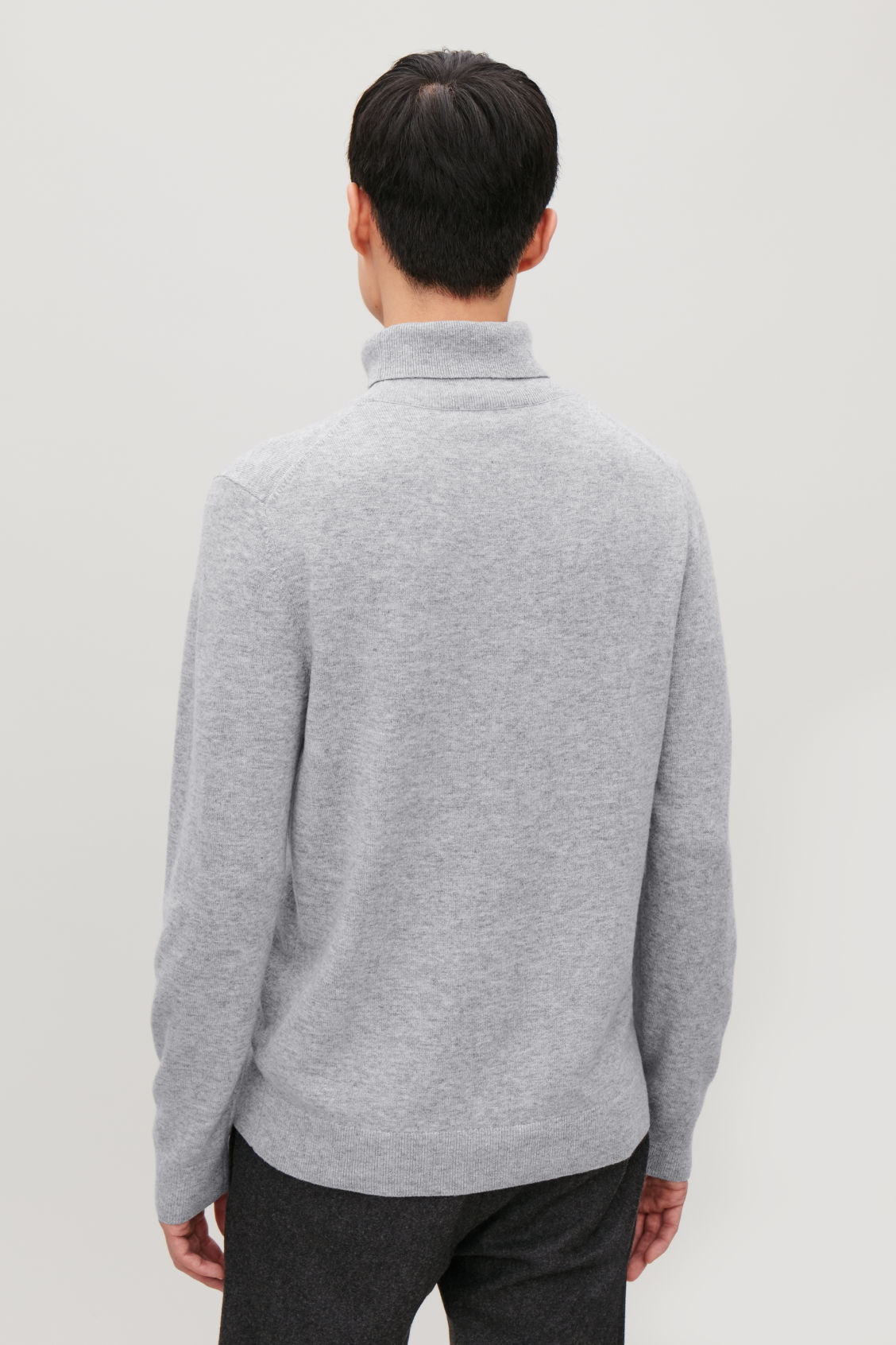 Model side image of Cos wool and yak roll-neck jumper  in grey