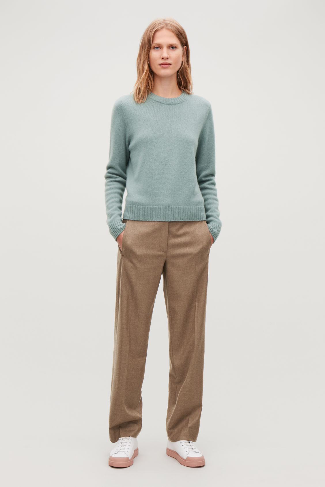 Model side image of Cos round-neck cashmere jumper  in green