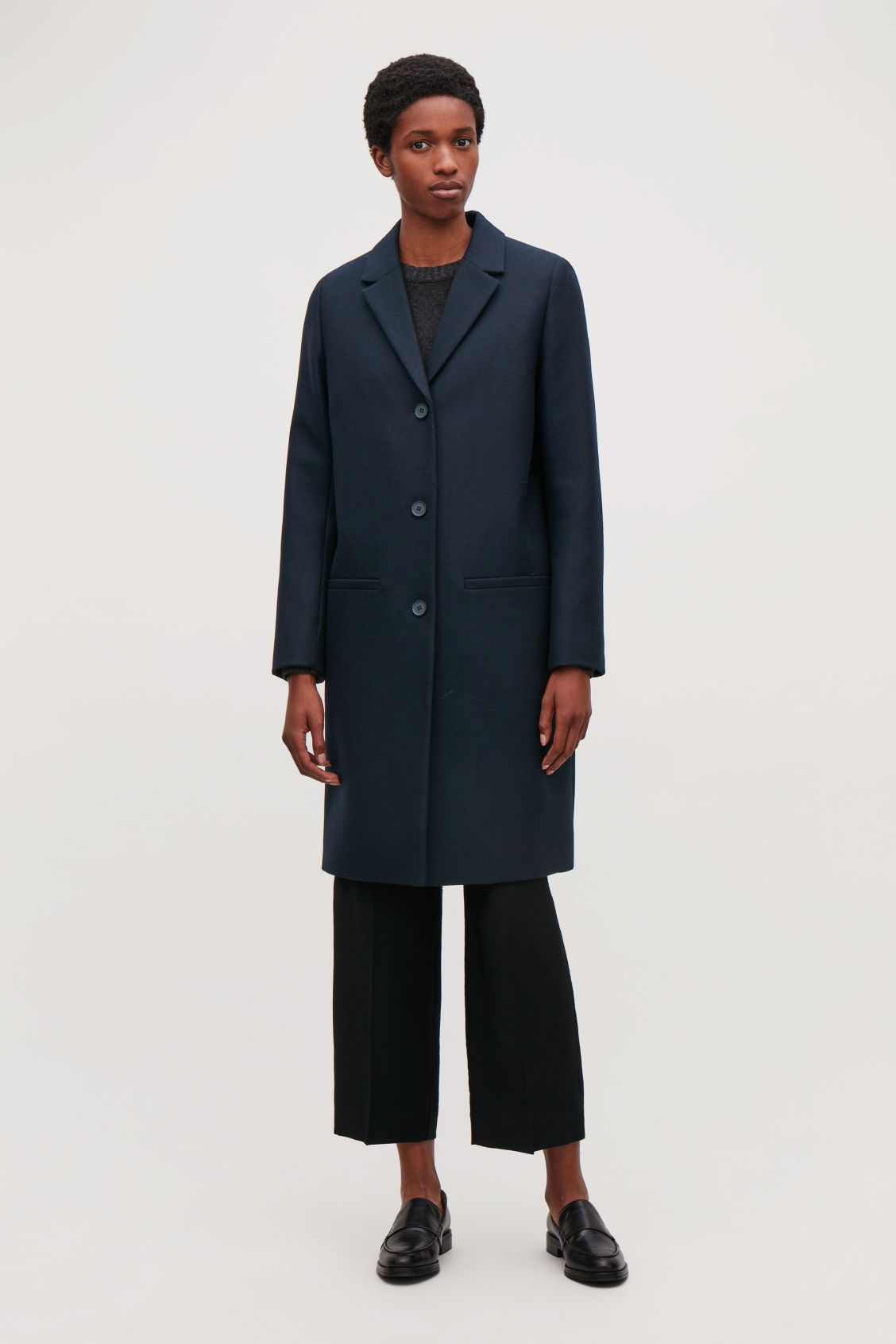 Model front image of Cos tailored wool coat in blue