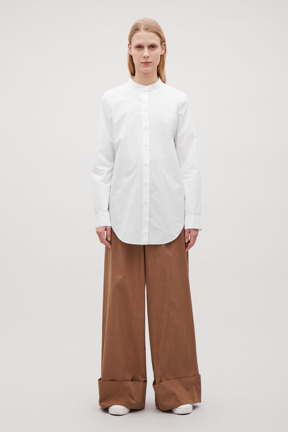 Model front image of Cos grandad-collar shirt in white