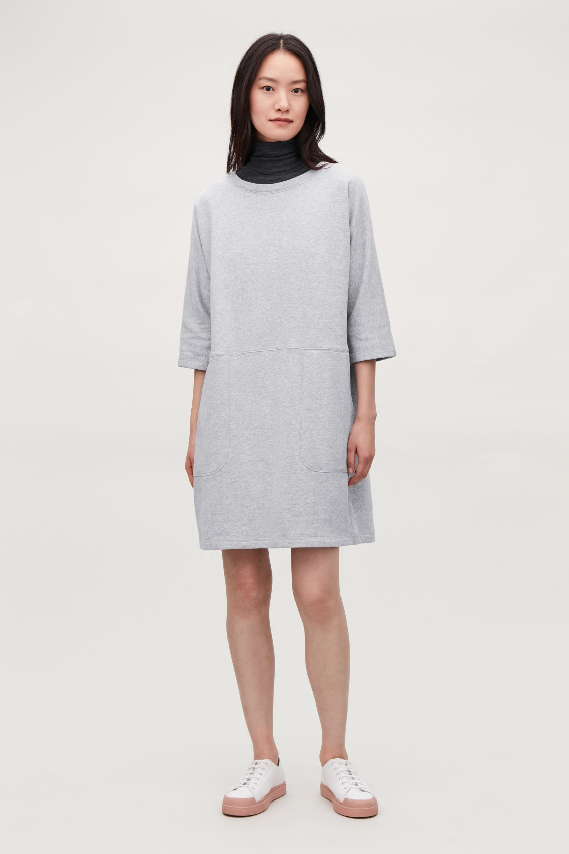 Model front image of Cos patch pocket jersey dress in grey