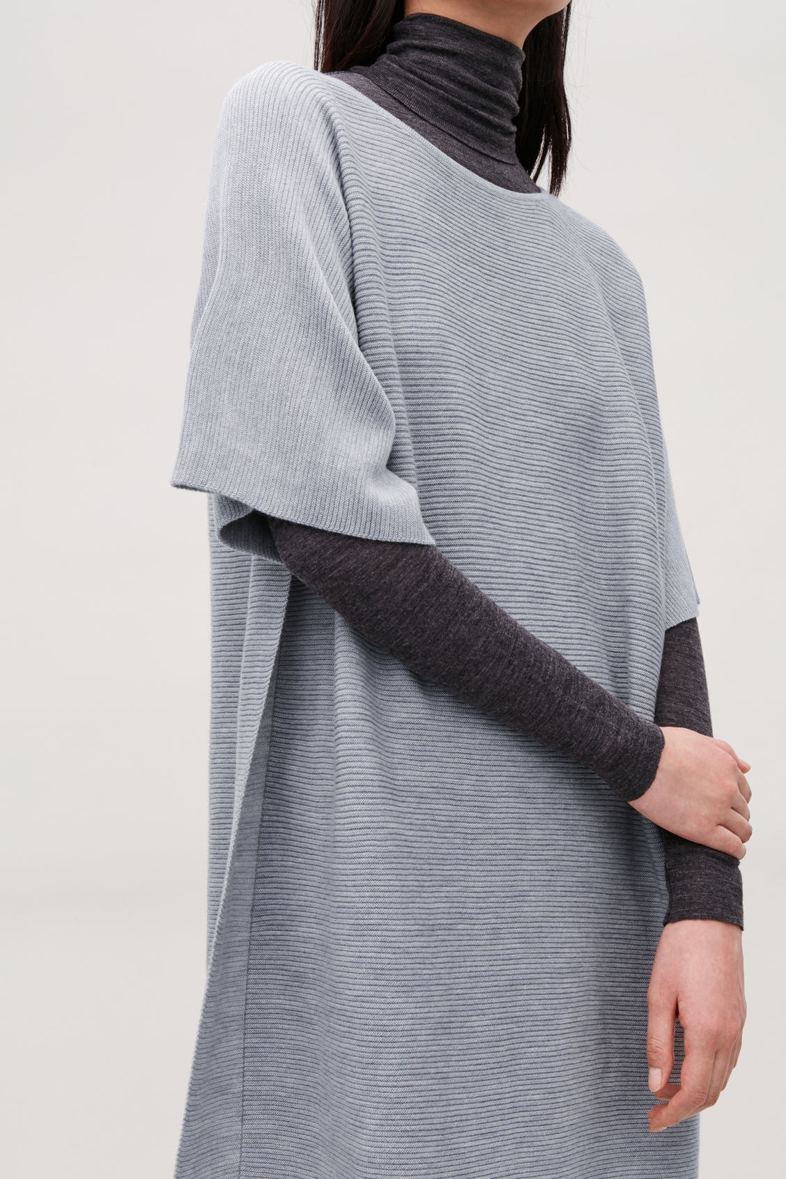 Model side image of Cos rectangular knitted dress in grey